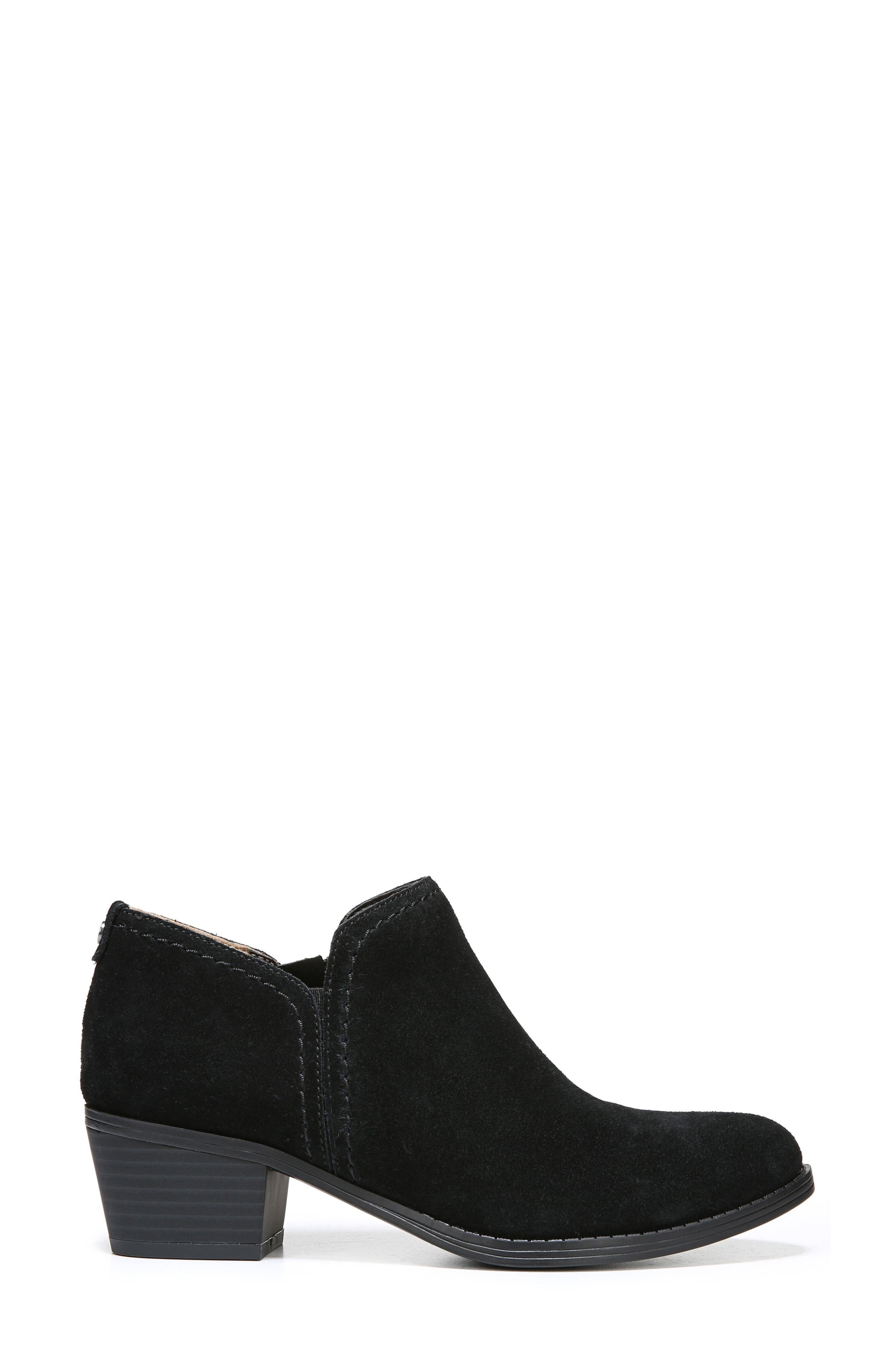 'Zarie' Block Heel Bootie,                             Alternate thumbnail 3, color,                             Black Suede