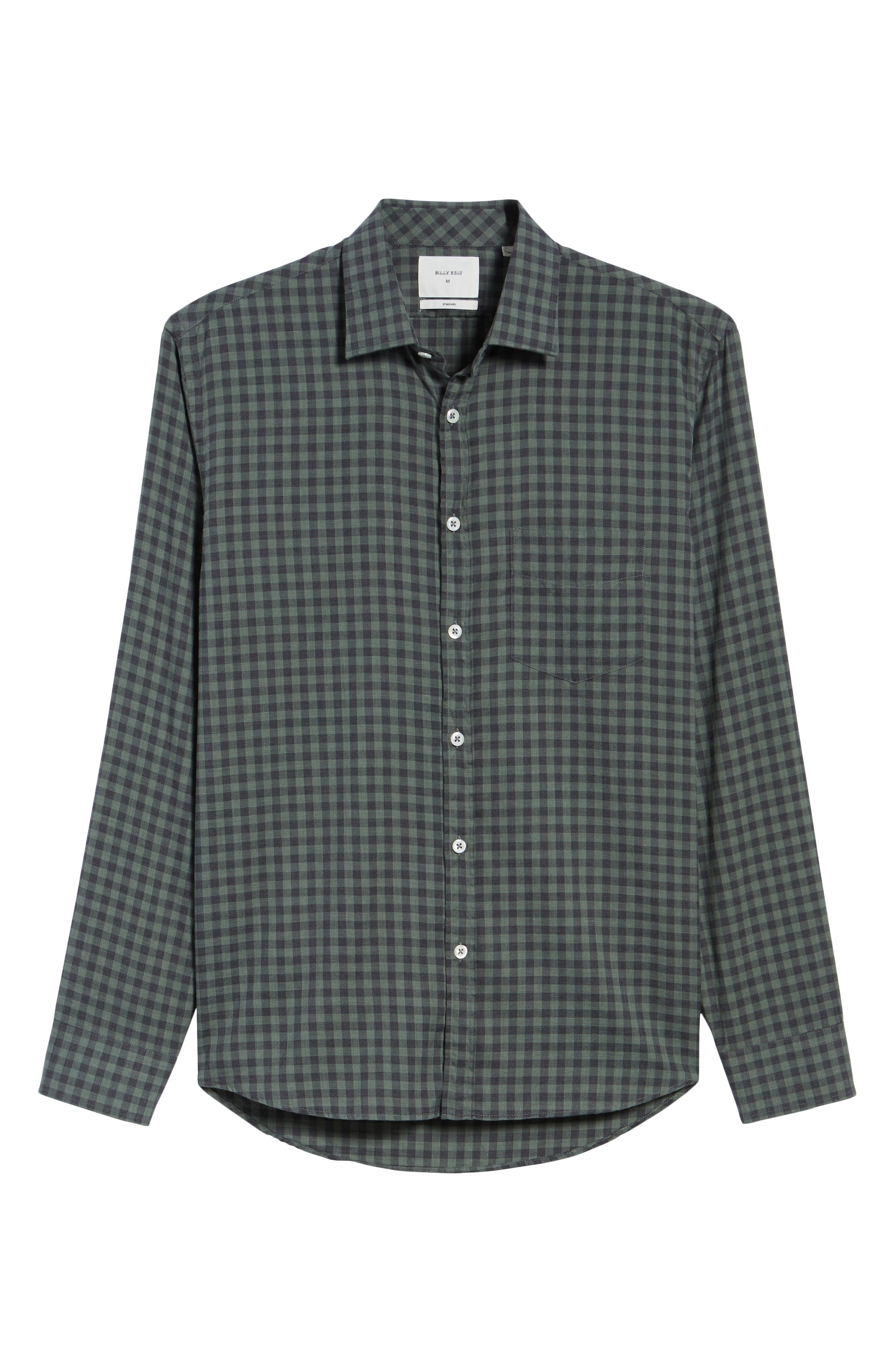 John Standard Fit Check Sport Shirt,                             Alternate thumbnail 6, color,                             Charcoal/ Green