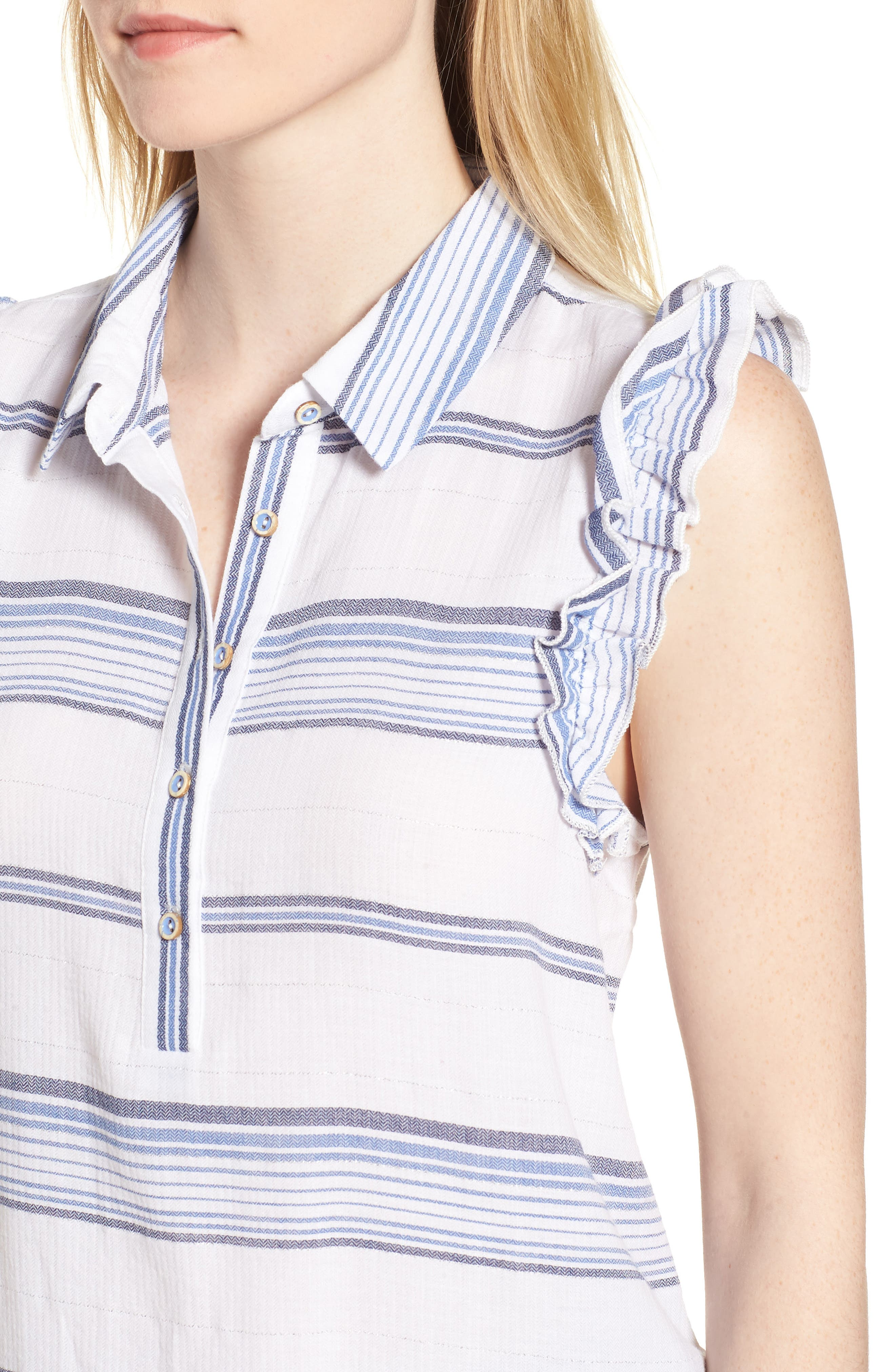 Ruffled Sleeve Striped Top,                             Alternate thumbnail 4, color,                             Blue/ White