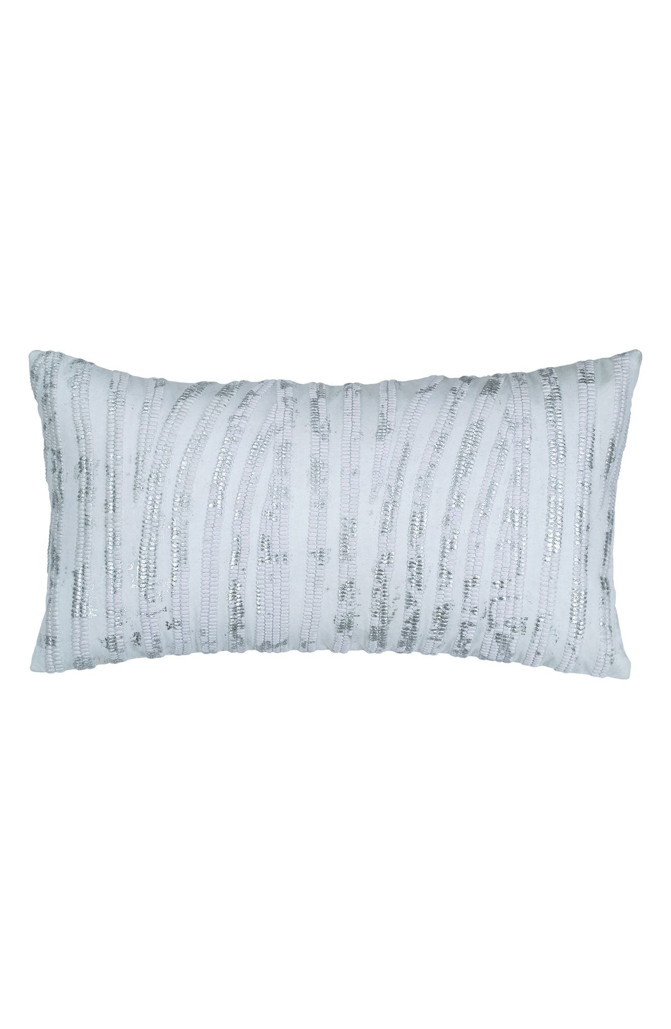 Collection Aire Embroidered Accent Pillow,                         Main,                         color, Silver