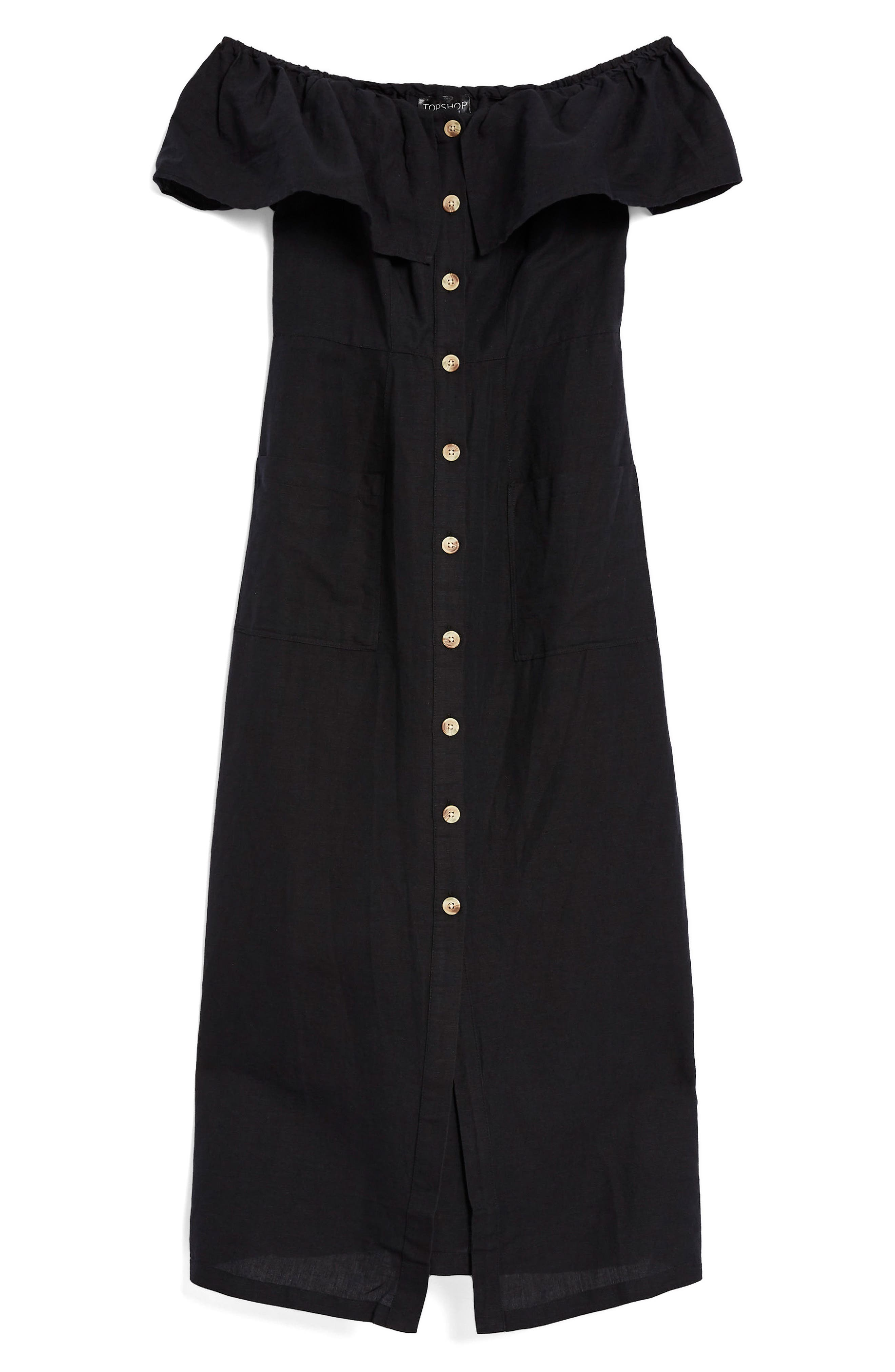 Linen Off the Shoulder Midi Dress,                             Alternate thumbnail 4, color,                             Black