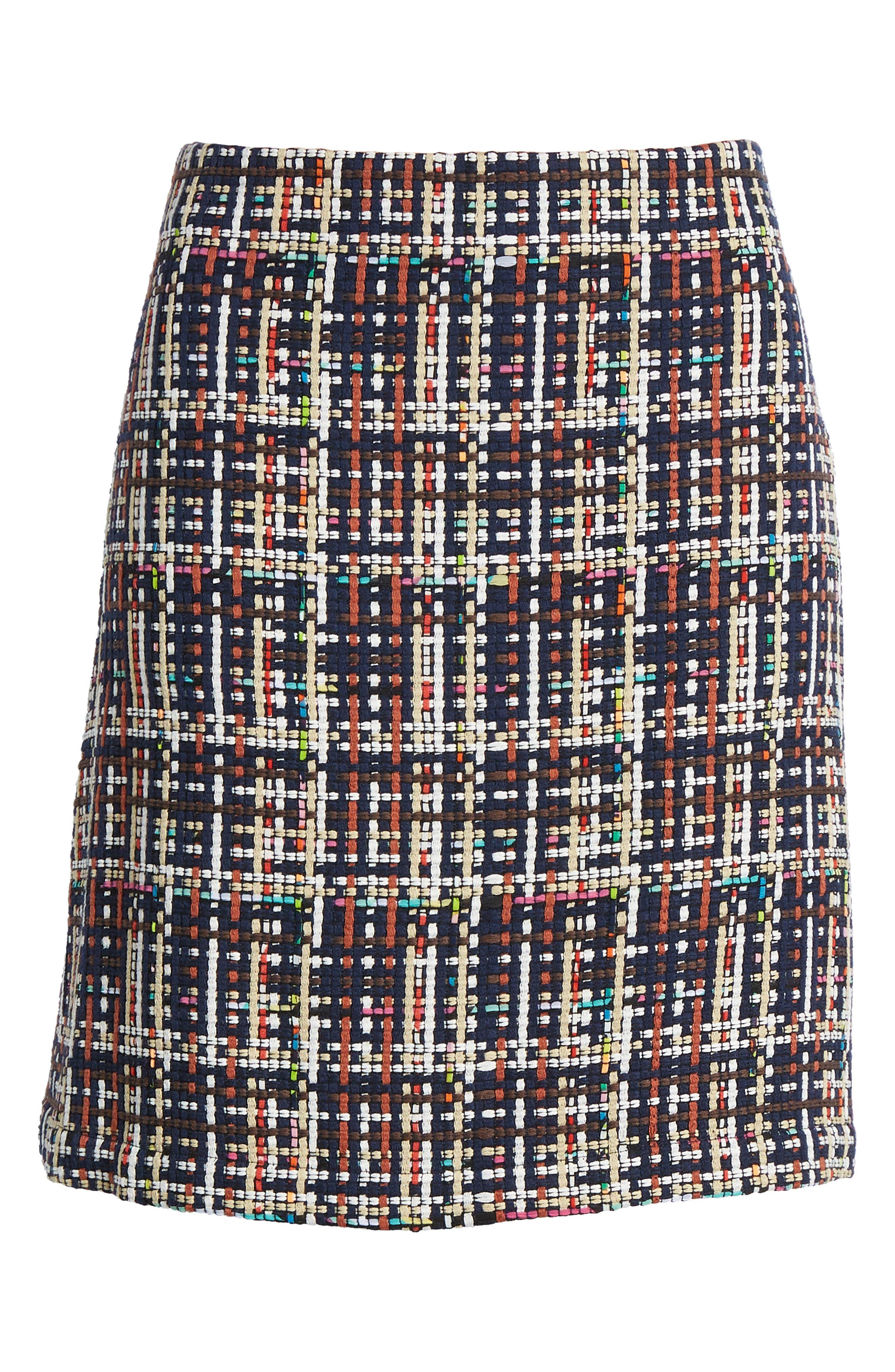 Tweed Mini Skirt,                             Alternate thumbnail 8, color,                             Navy Multi Tweed