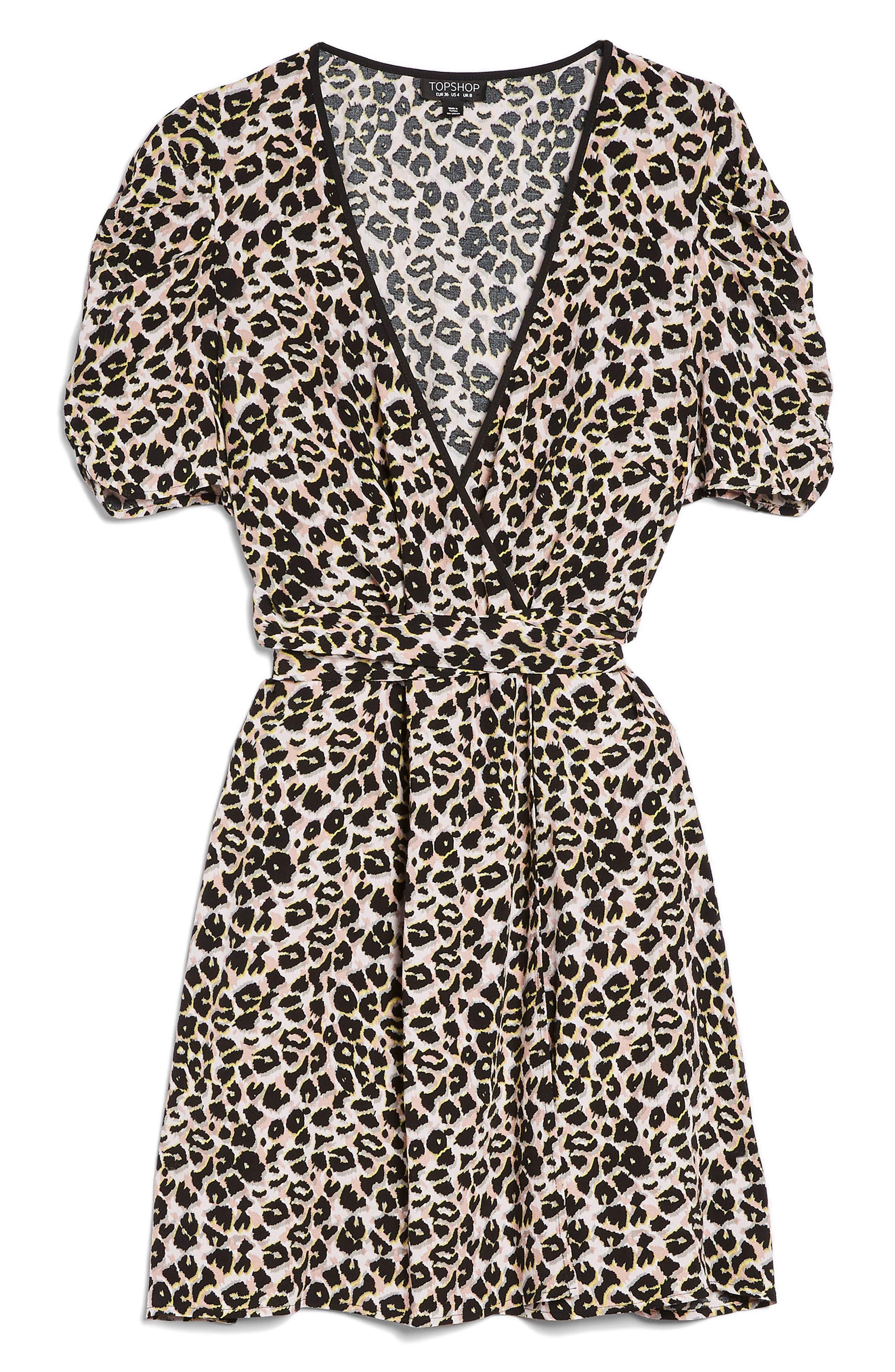 Leopard Wrap Minidress,                             Alternate thumbnail 5, color,                             Brown Multi