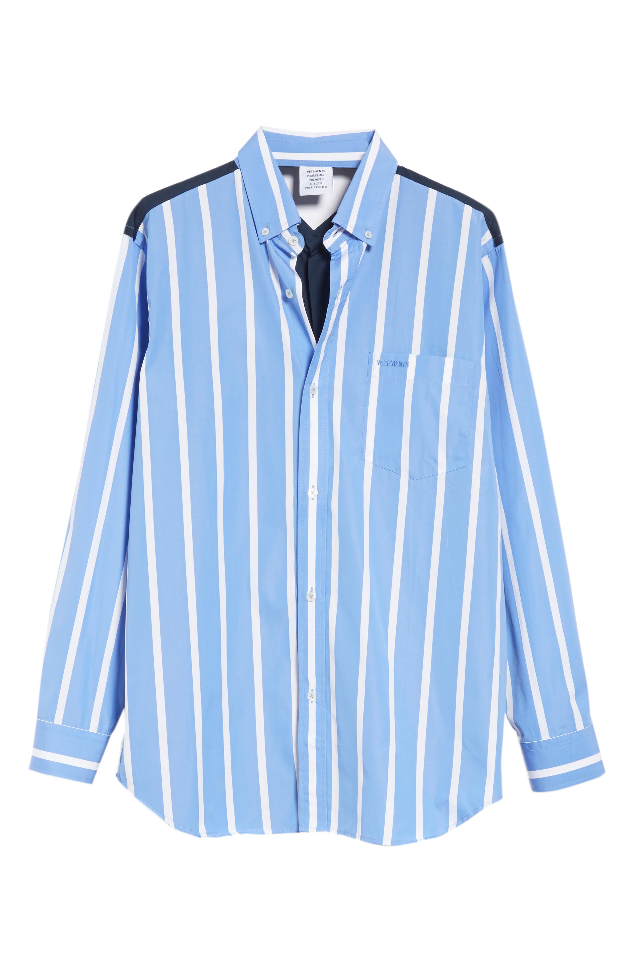 Front to Back Cotton Shirt,                             Alternate thumbnail 6, color,                             Blue Stripe