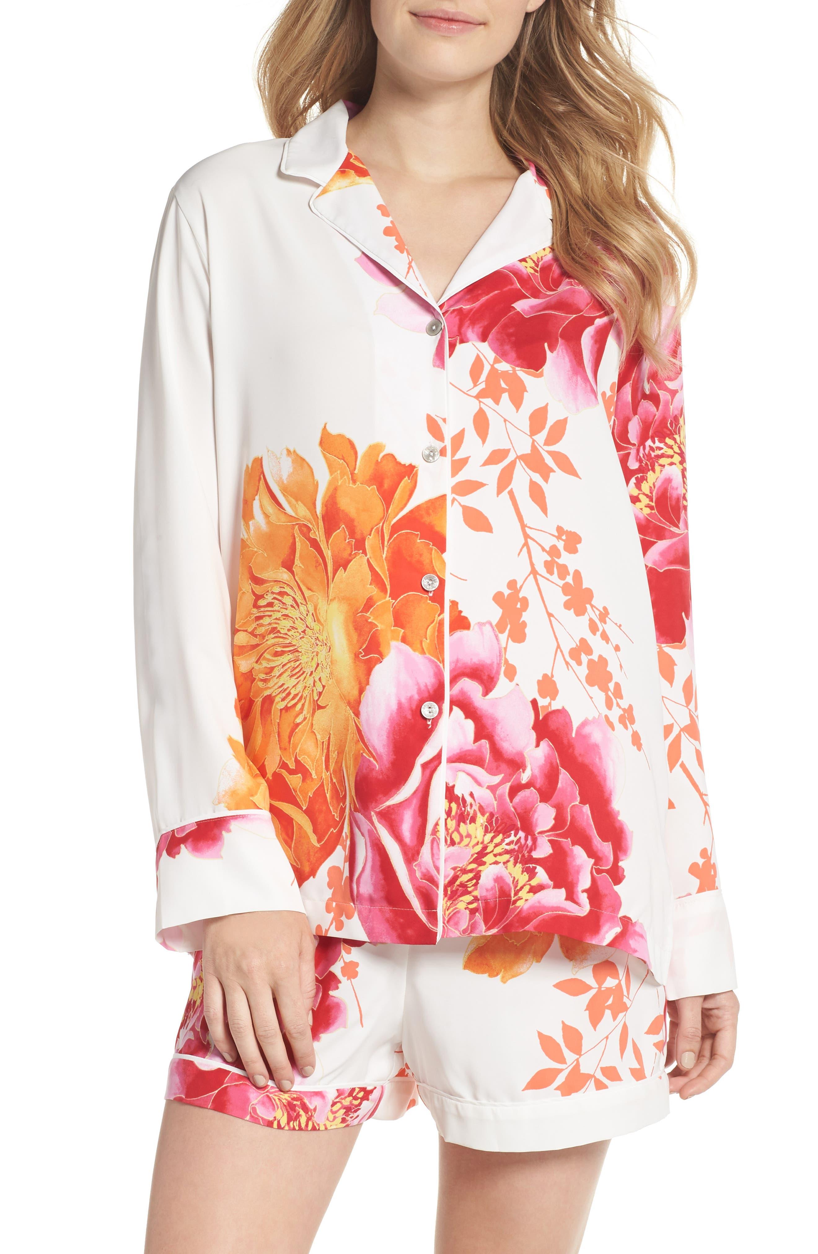 Main Image - Natori Bali Floral Print Satin Short Pajamas