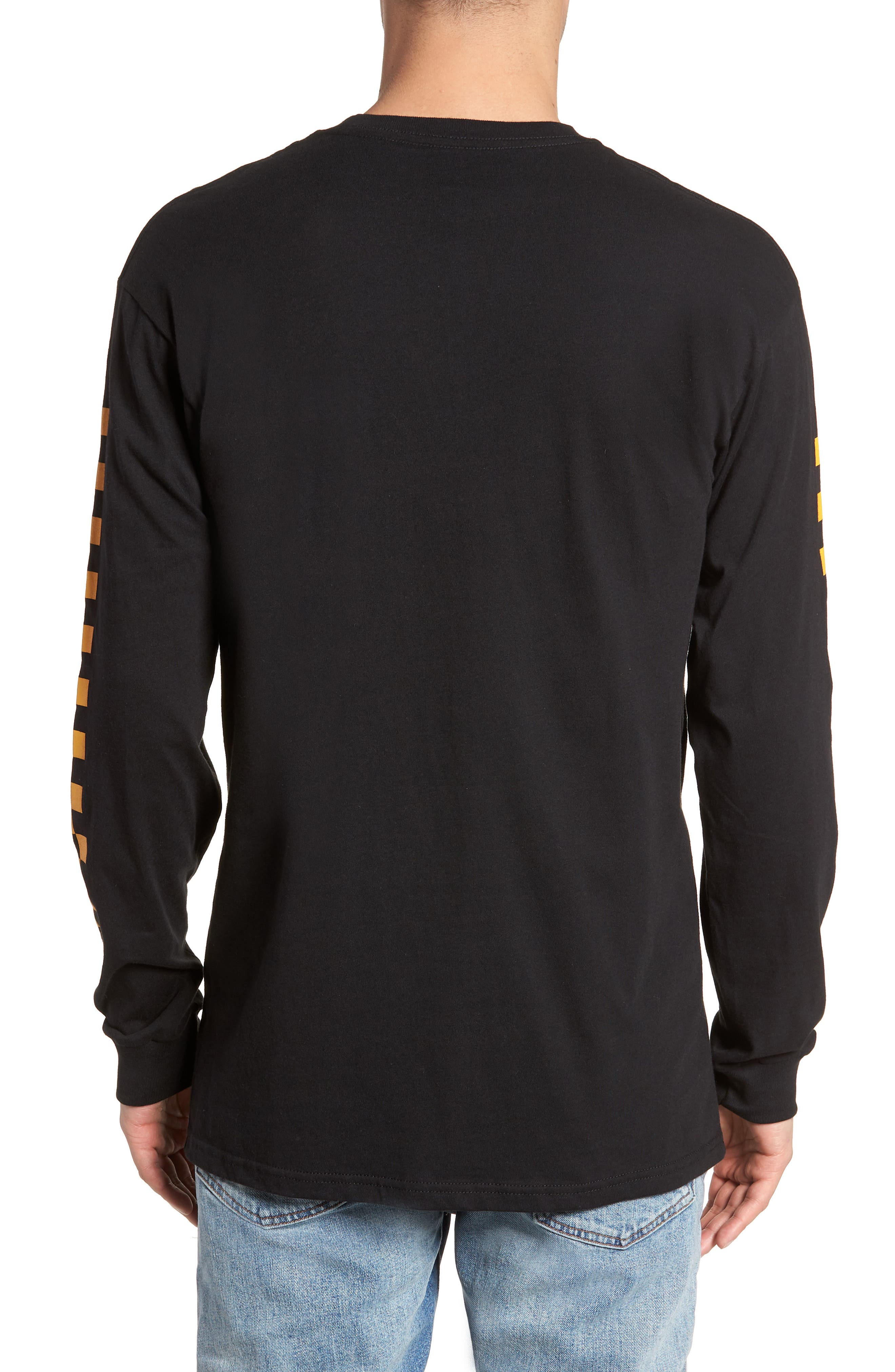 Classic Checkmate Long Sleeve T-Shirt,                             Alternate thumbnail 2, color,                             Black/ Yellow