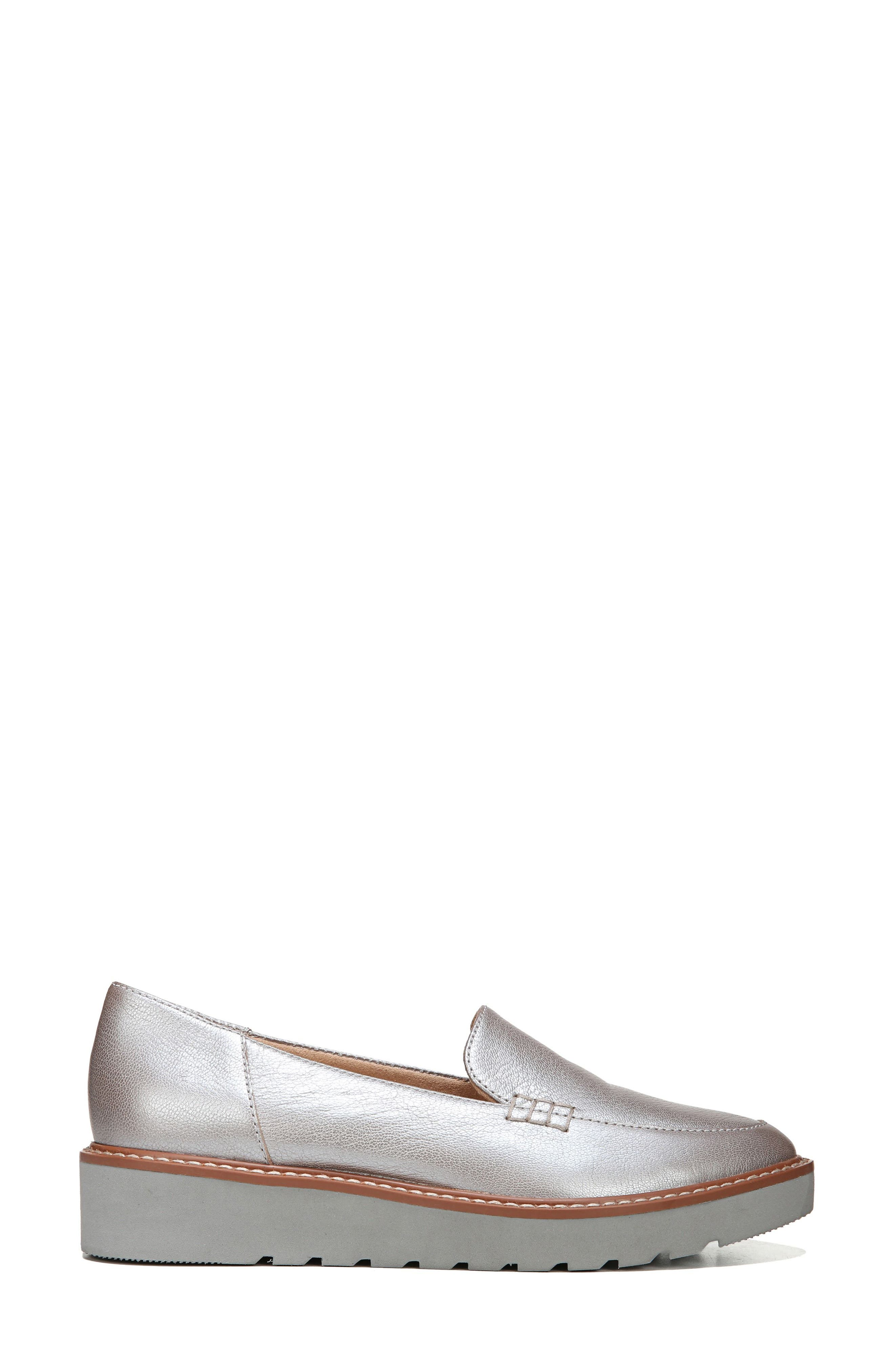 Andie Loafer,                             Alternate thumbnail 3, color,                             Silver Leather