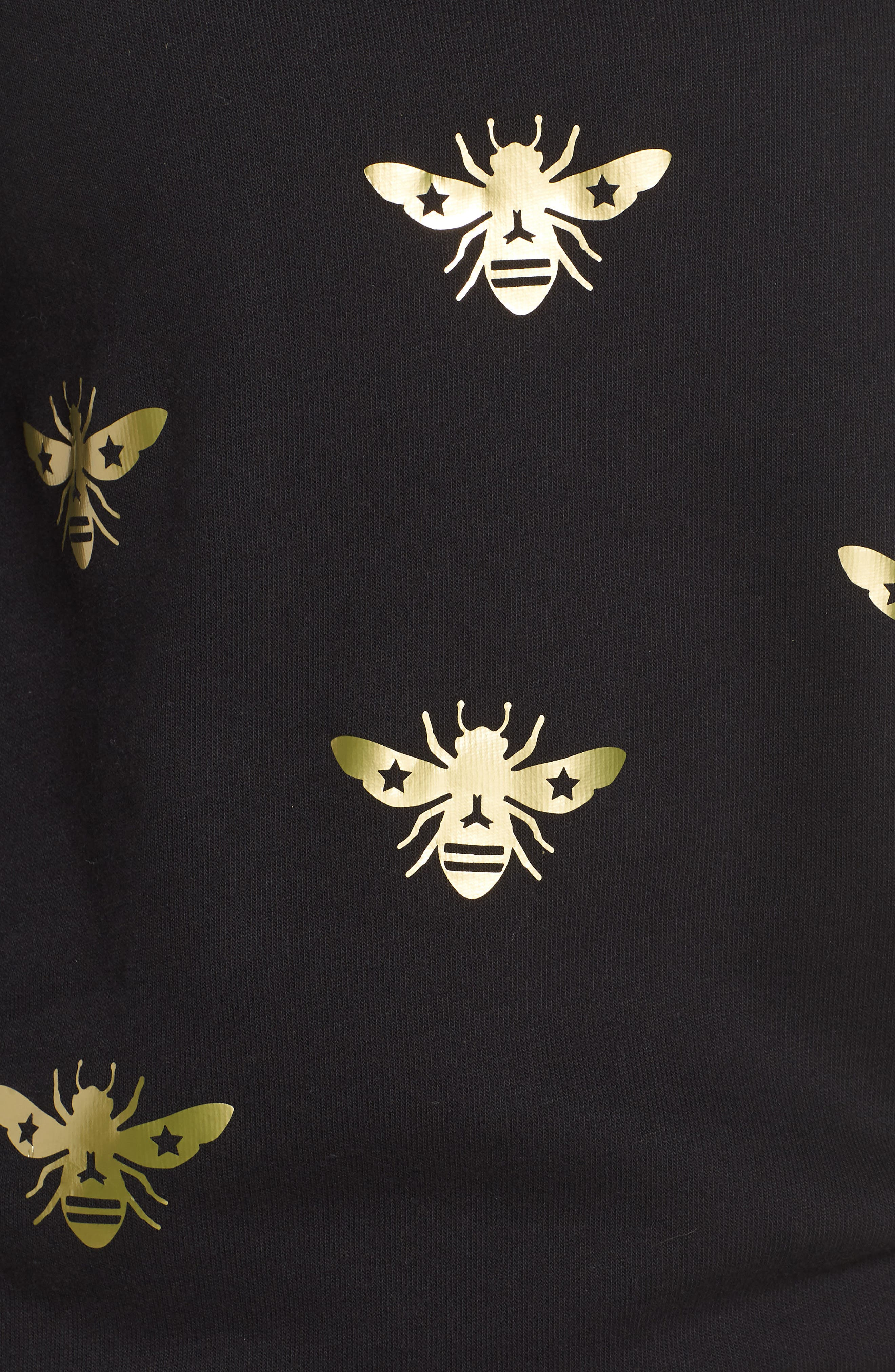Bee Sweatshirt,                             Alternate thumbnail 5, color,                             Nero/ Gold
