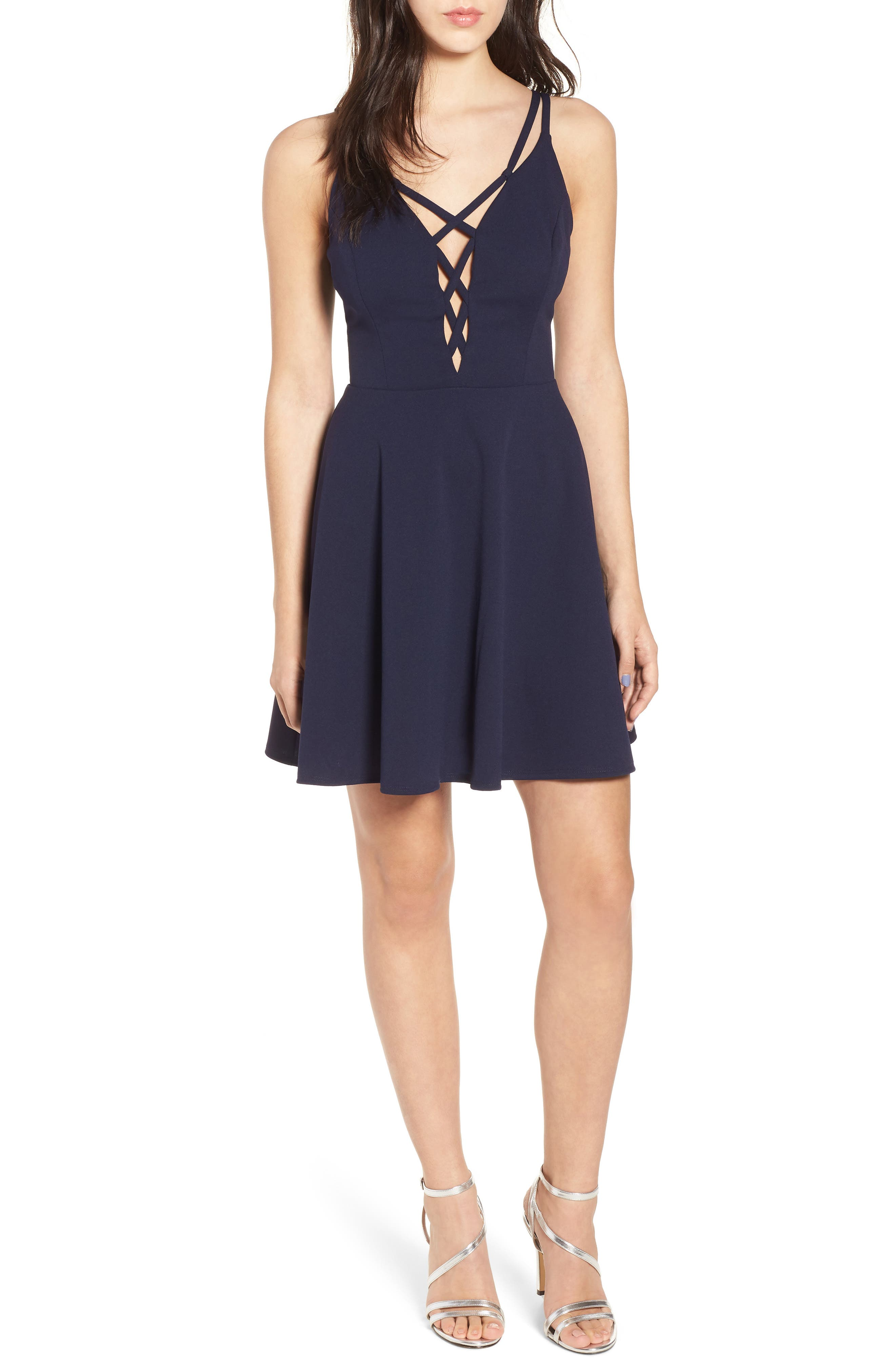 Lace-Up Skater Dress,                             Main thumbnail 1, color,                             Midnight