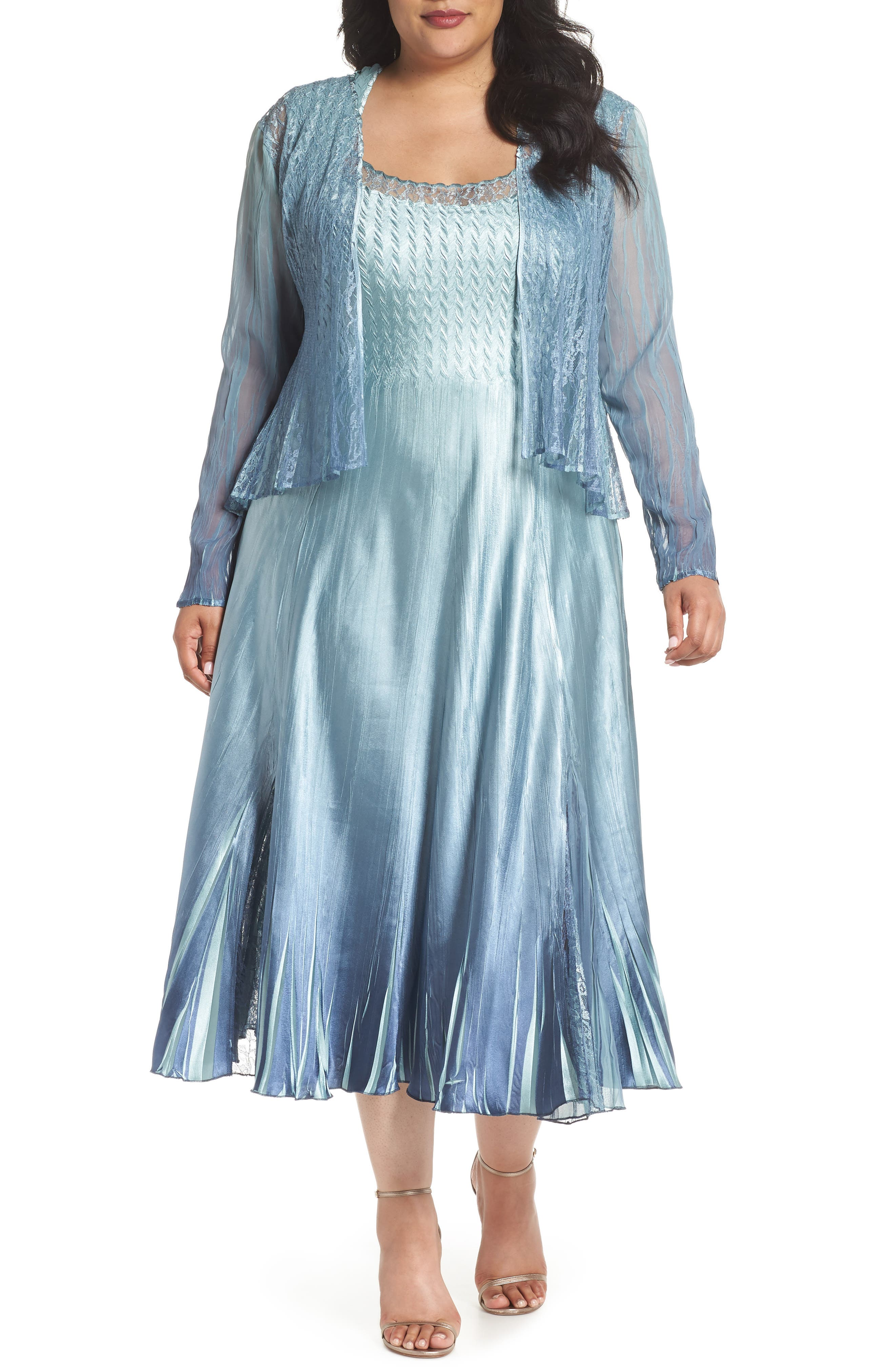 Lace & Charmeuse A-Lined Dress with Jacket,                             Main thumbnail 1, color,                             Ocean Blue Night Ombre