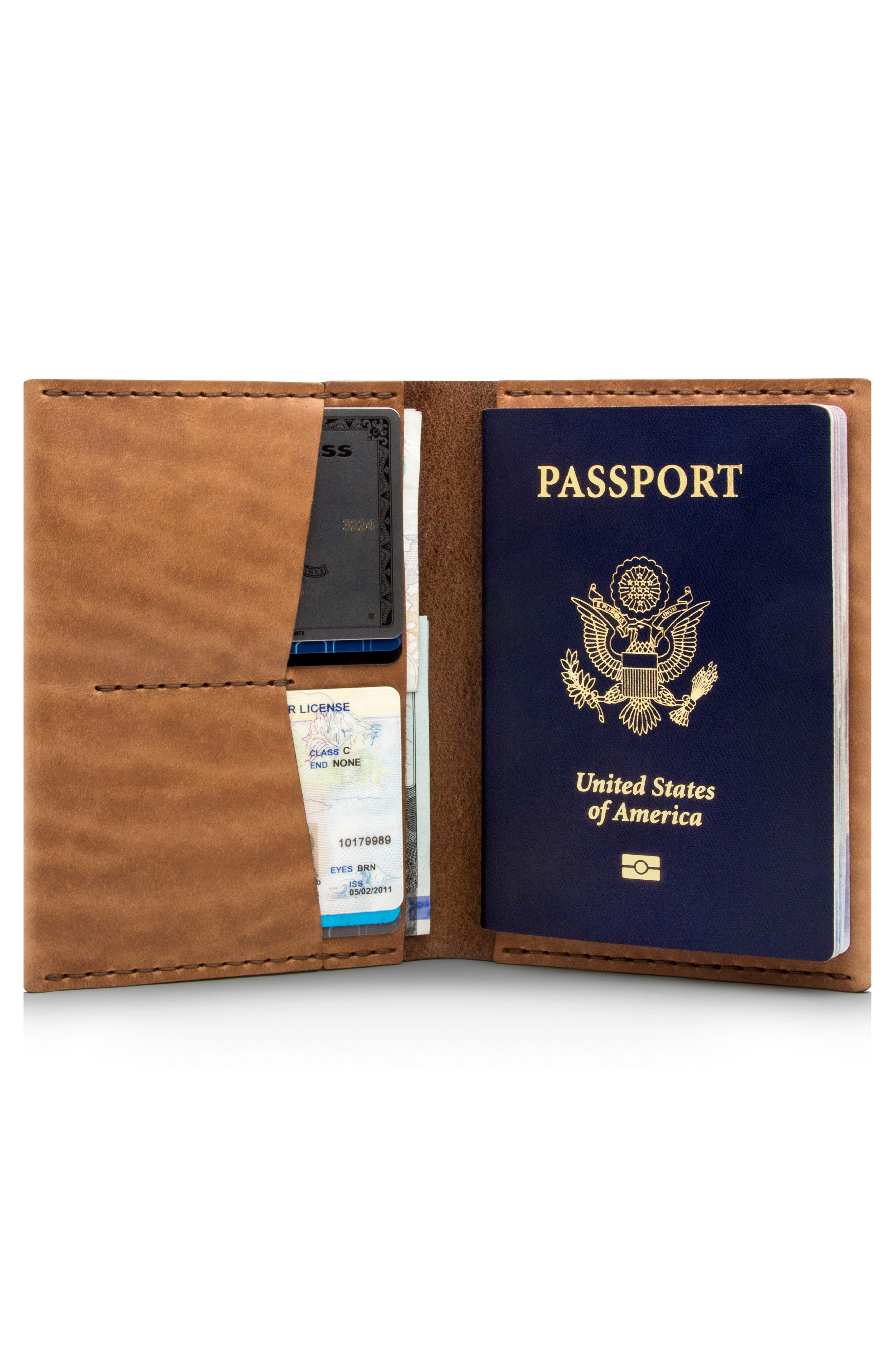 Leather Passport Wallet,                             Alternate thumbnail 2, color,                             Whiskey