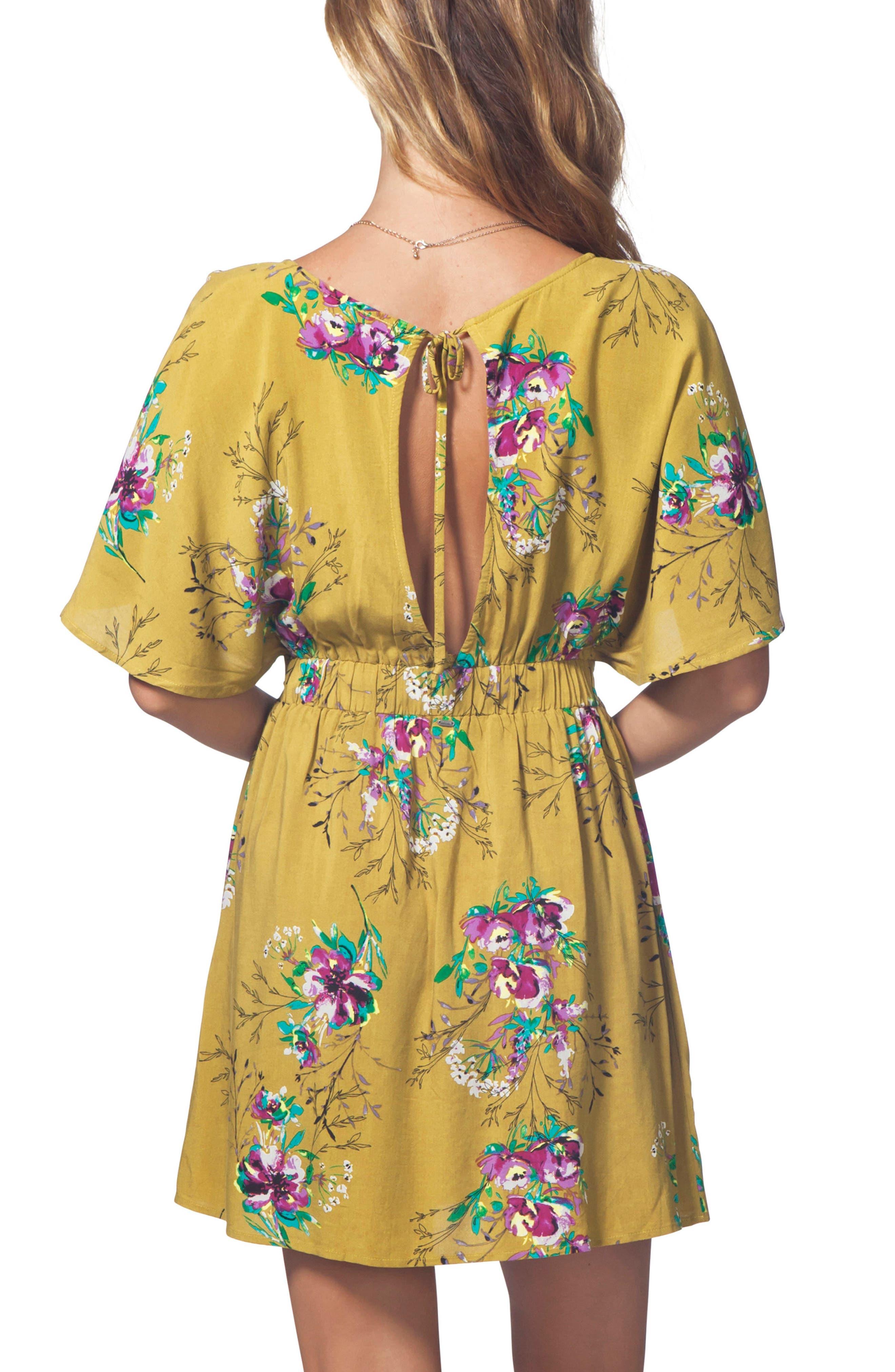 Sweet Nothing Print Dress,                             Alternate thumbnail 2, color,                             Mustard
