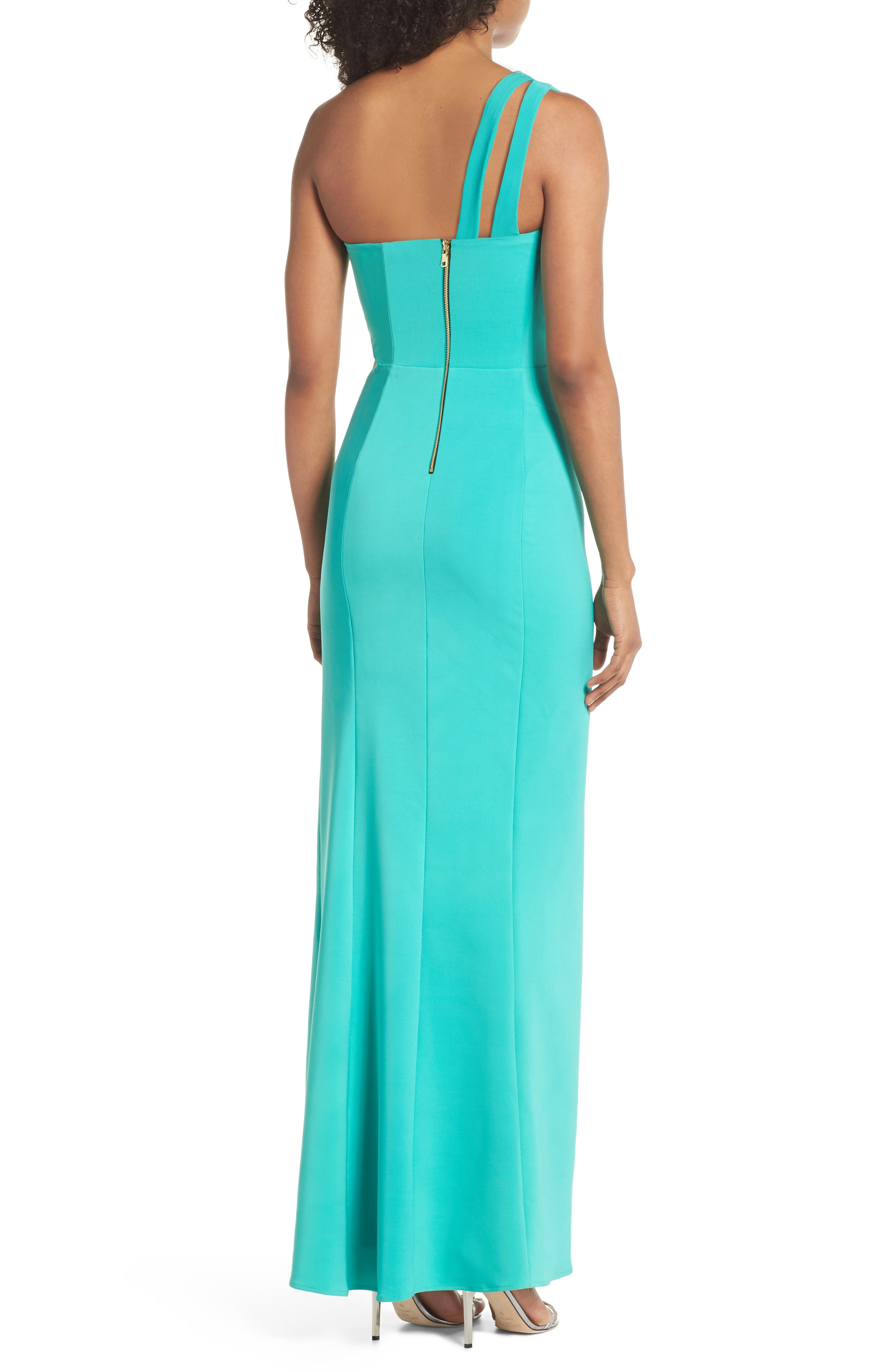 Cameron One-Shoulder Cutout Gown,                             Alternate thumbnail 2, color,                             Jade