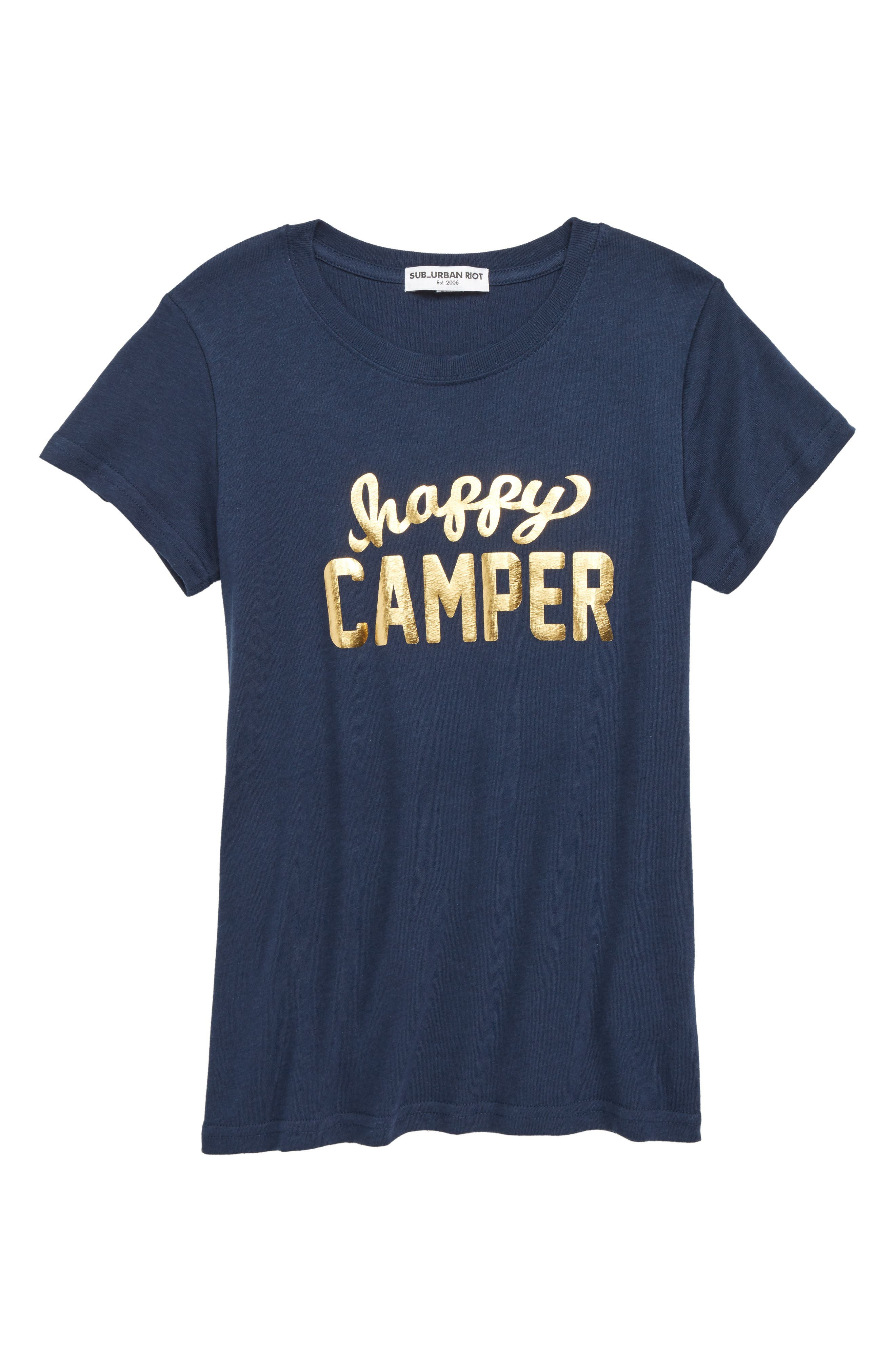 Happy Camper Tee,                         Main,                         color, French Navy
