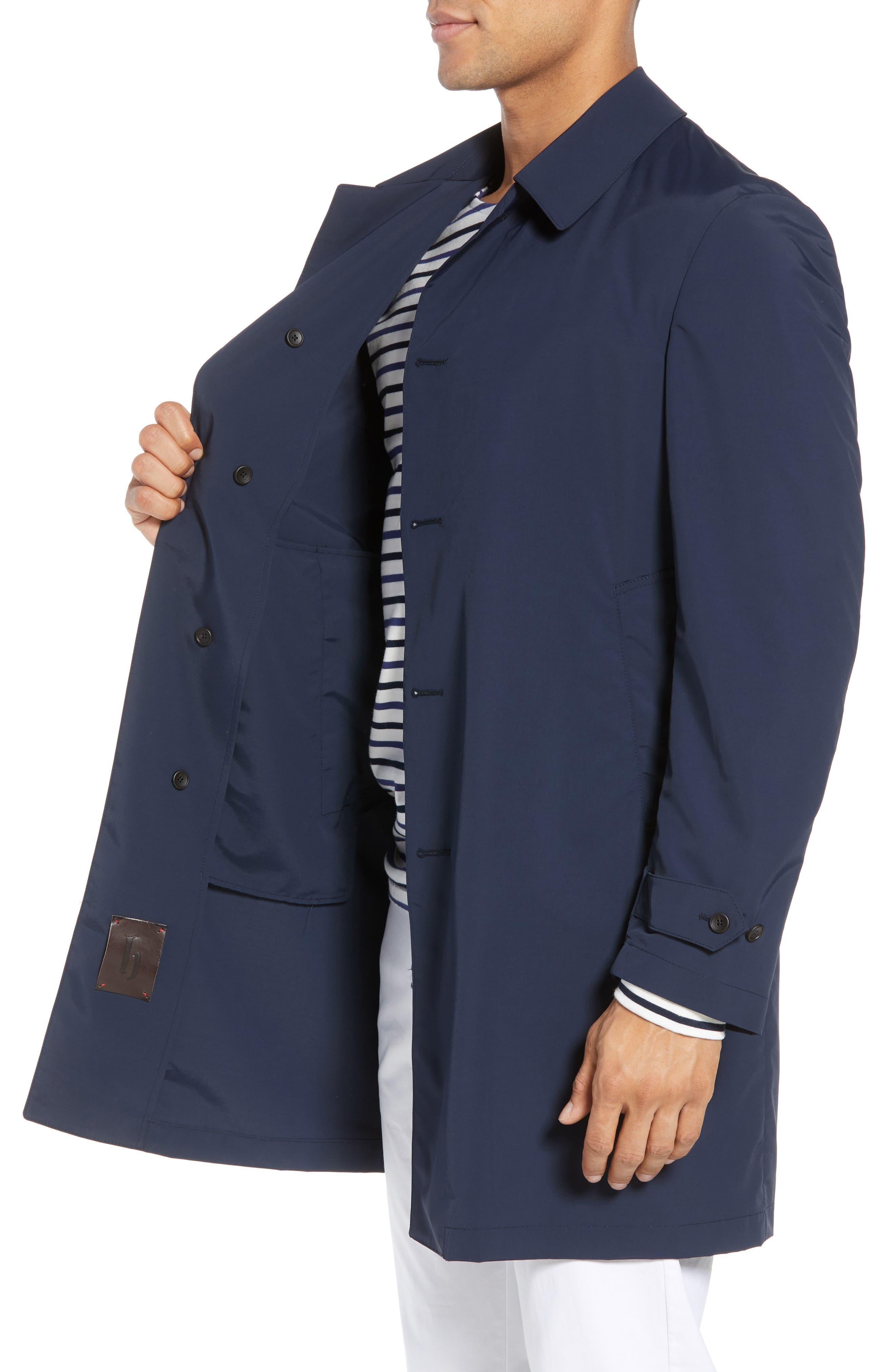 Shell Wool Blend Rain Coat,                             Alternate thumbnail 3, color,                             Navy