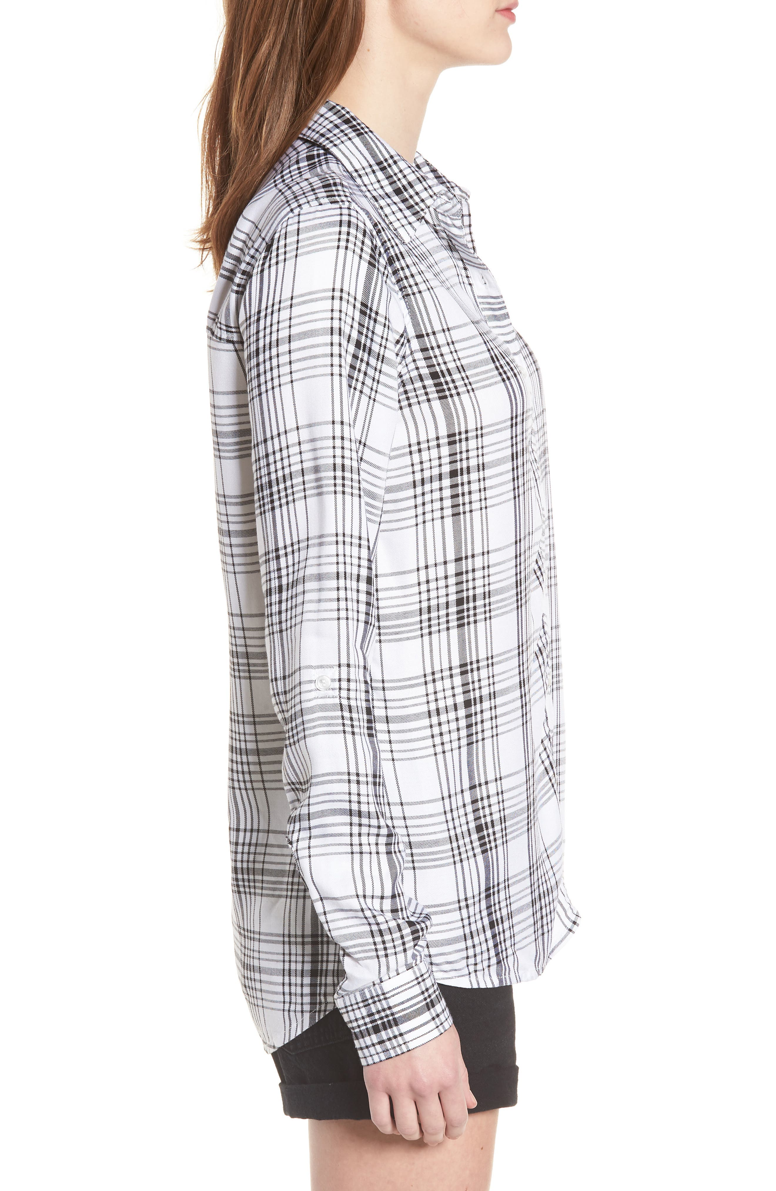 Roll-Tab Shirt,                             Alternate thumbnail 3, color,                             Black White Plaid