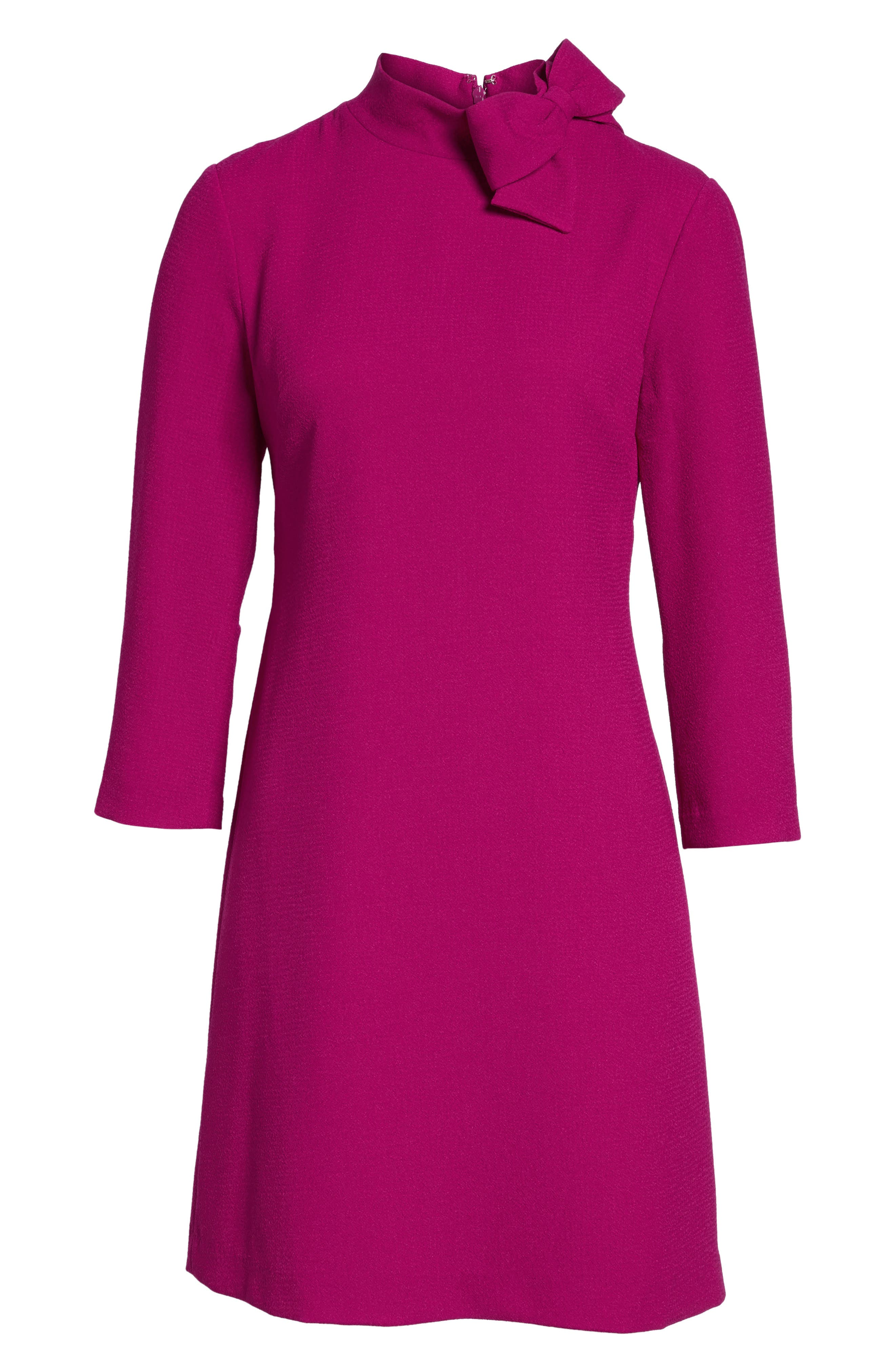 Bow Crepe A-Line Dress,                             Alternate thumbnail 8, color,                             Pink
