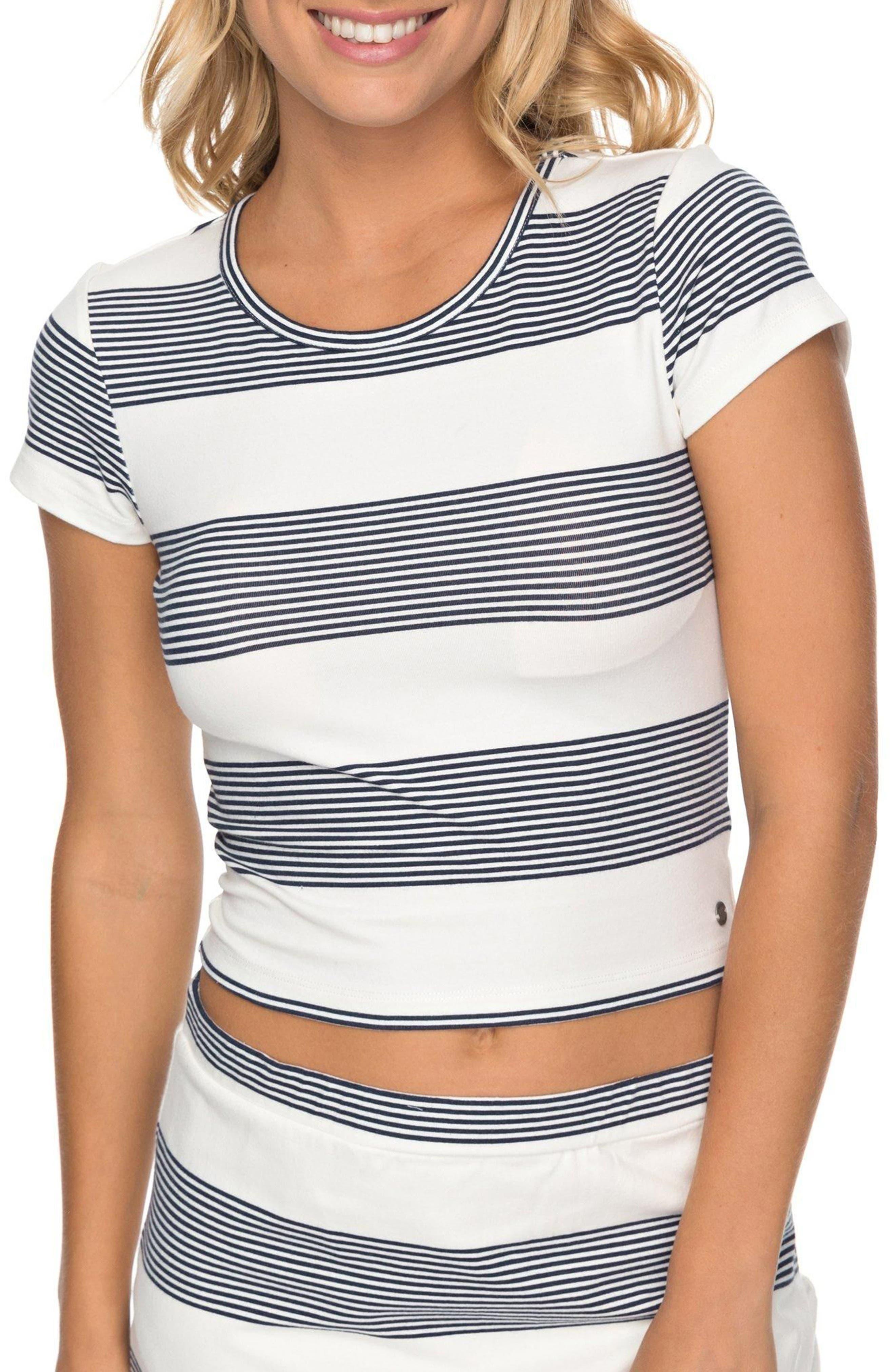 Parker Stripe Crop Top,                             Main thumbnail 1, color,                             Marshmallow Dress Blue Docker