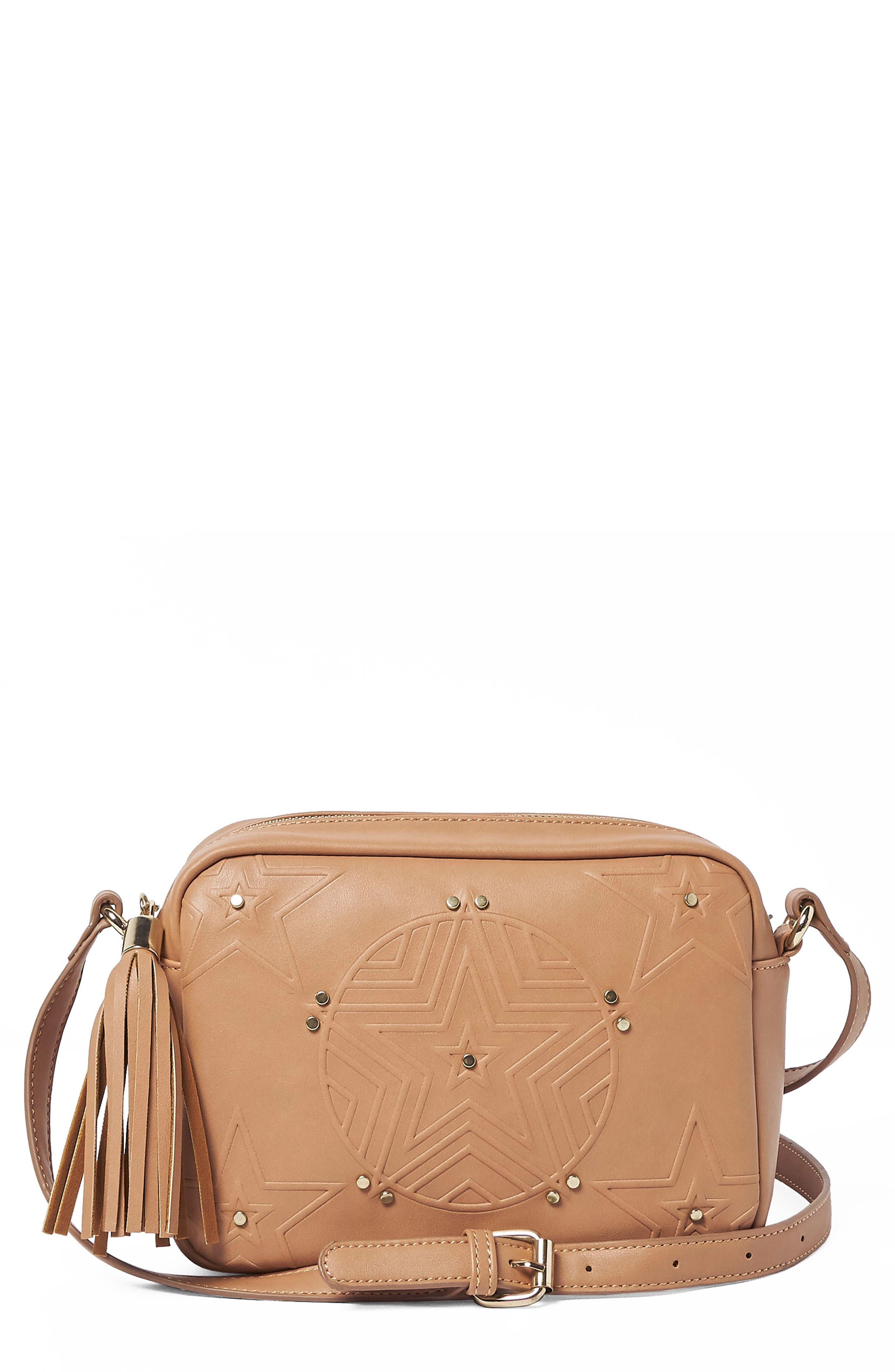 Urban Originals STARGAZER VEGAN LEATHER CROSSBODY BAG - BEIGE