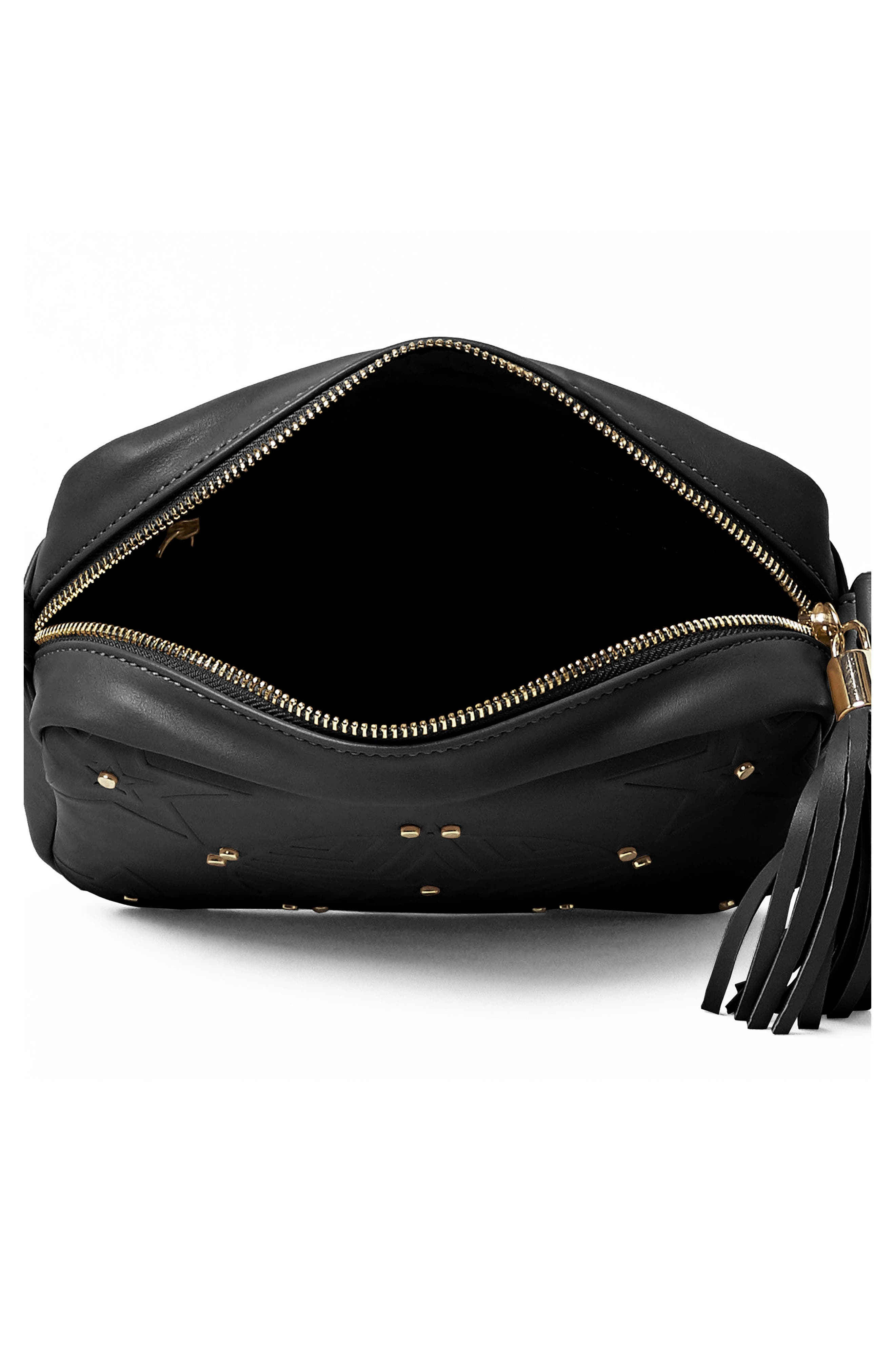 Stargazer Vegan Leather Crossbody Bag,                             Alternate thumbnail 2, color,                             Black
