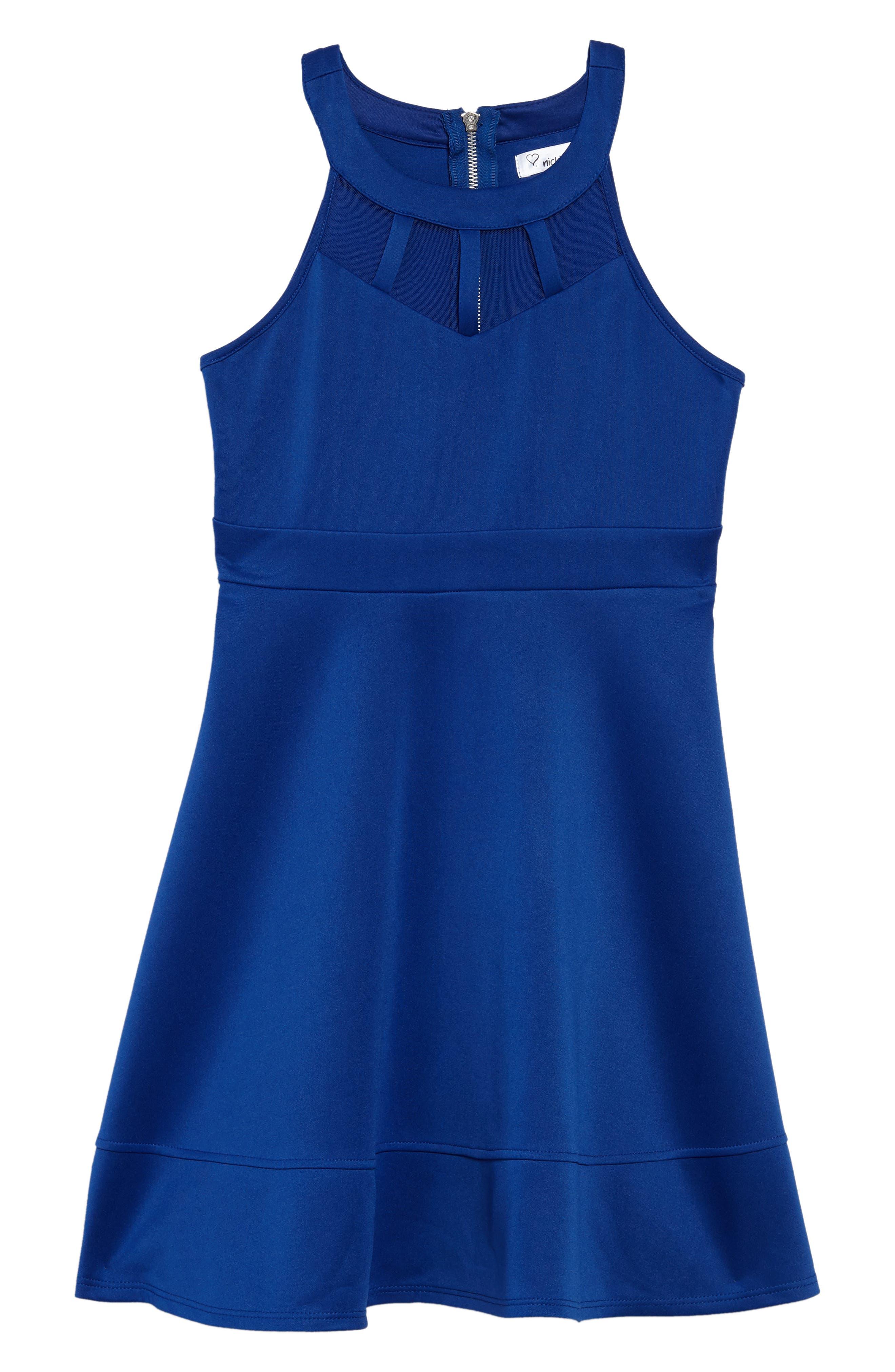 Illusion Neck Skater Dress,                         Main,                         color, Royal