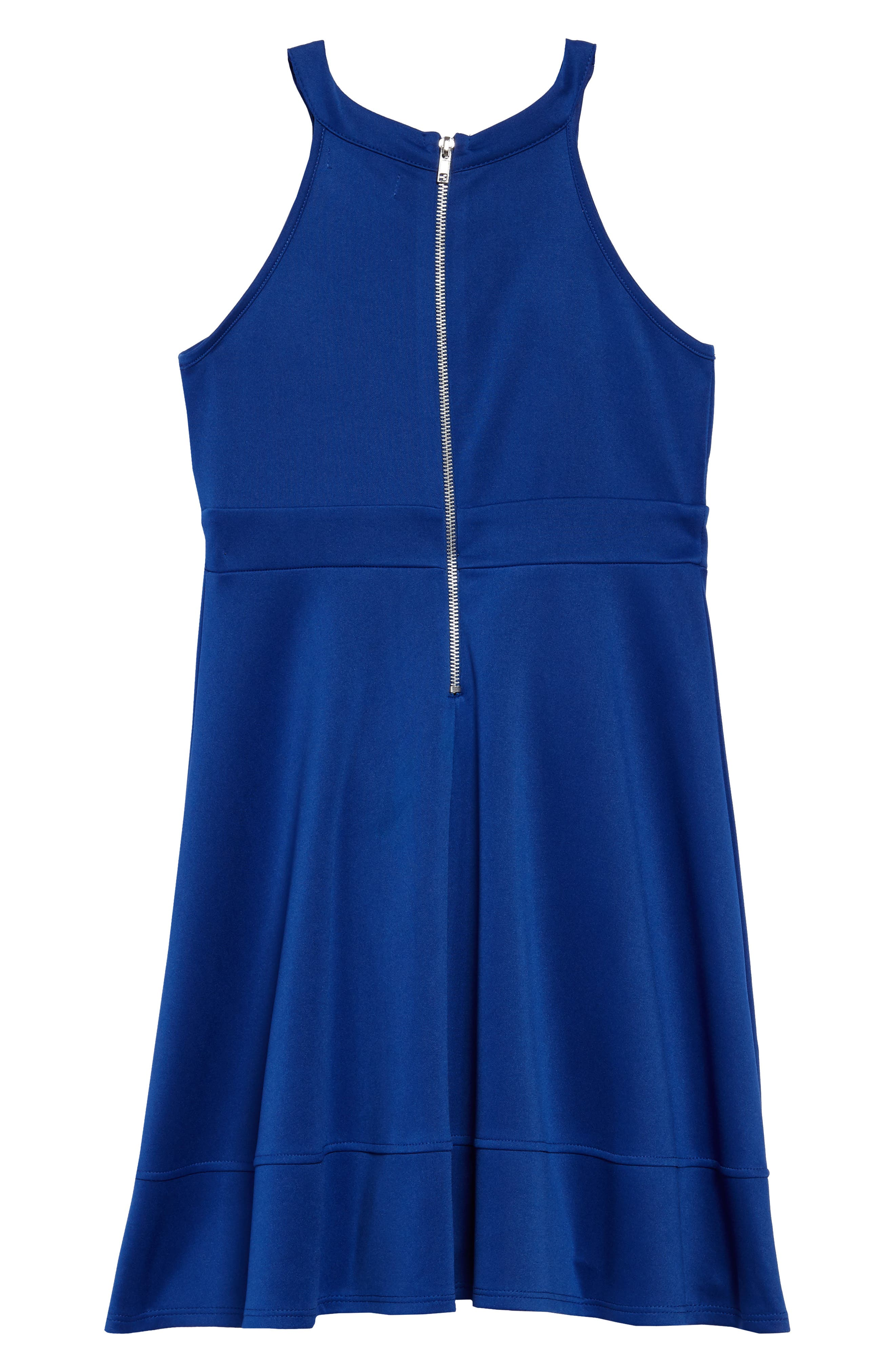 Illusion Neck Skater Dress,                             Alternate thumbnail 2, color,                             Royal