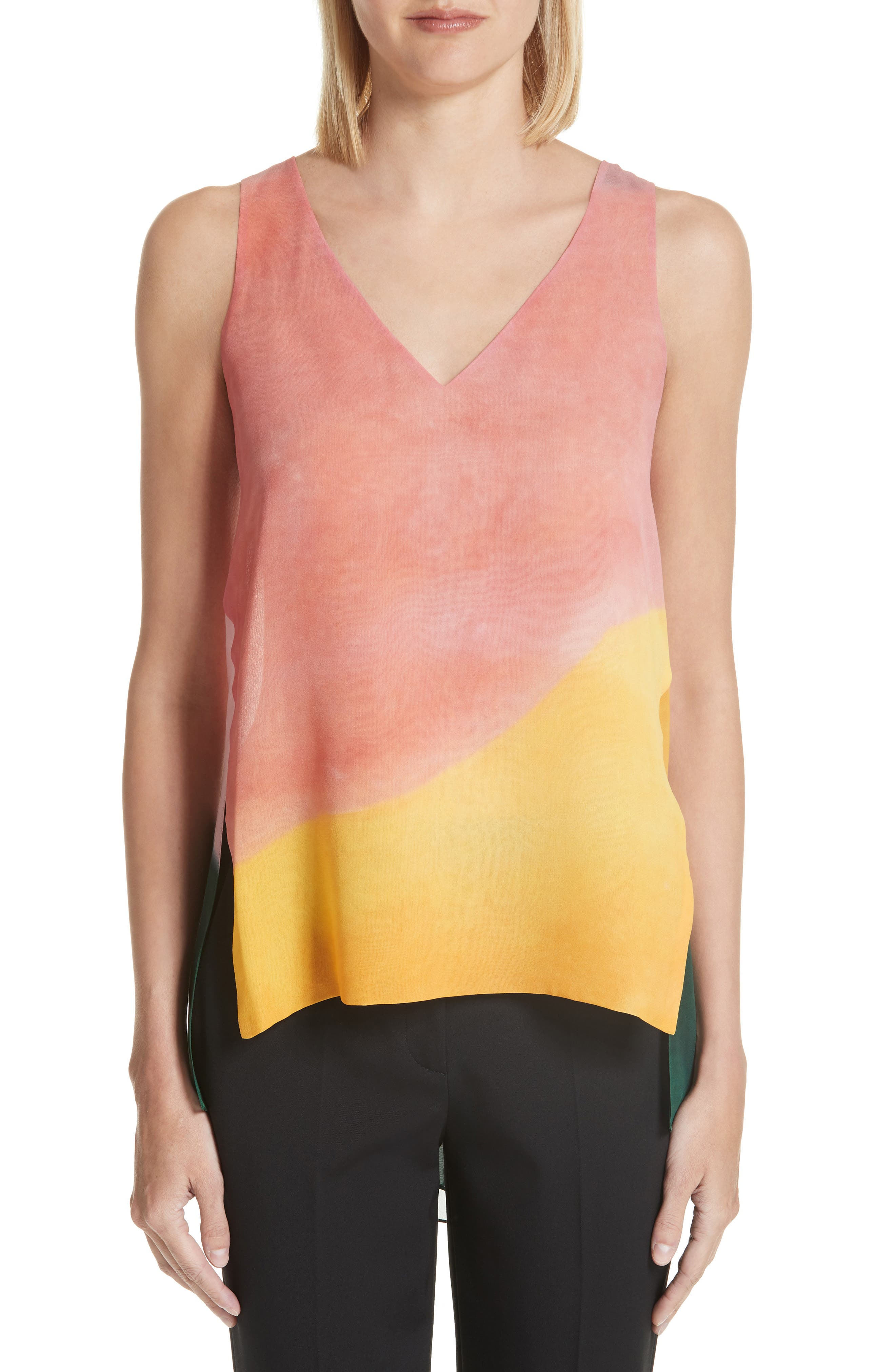 Rosetta Getty Watercolor Silk Georgette Tank