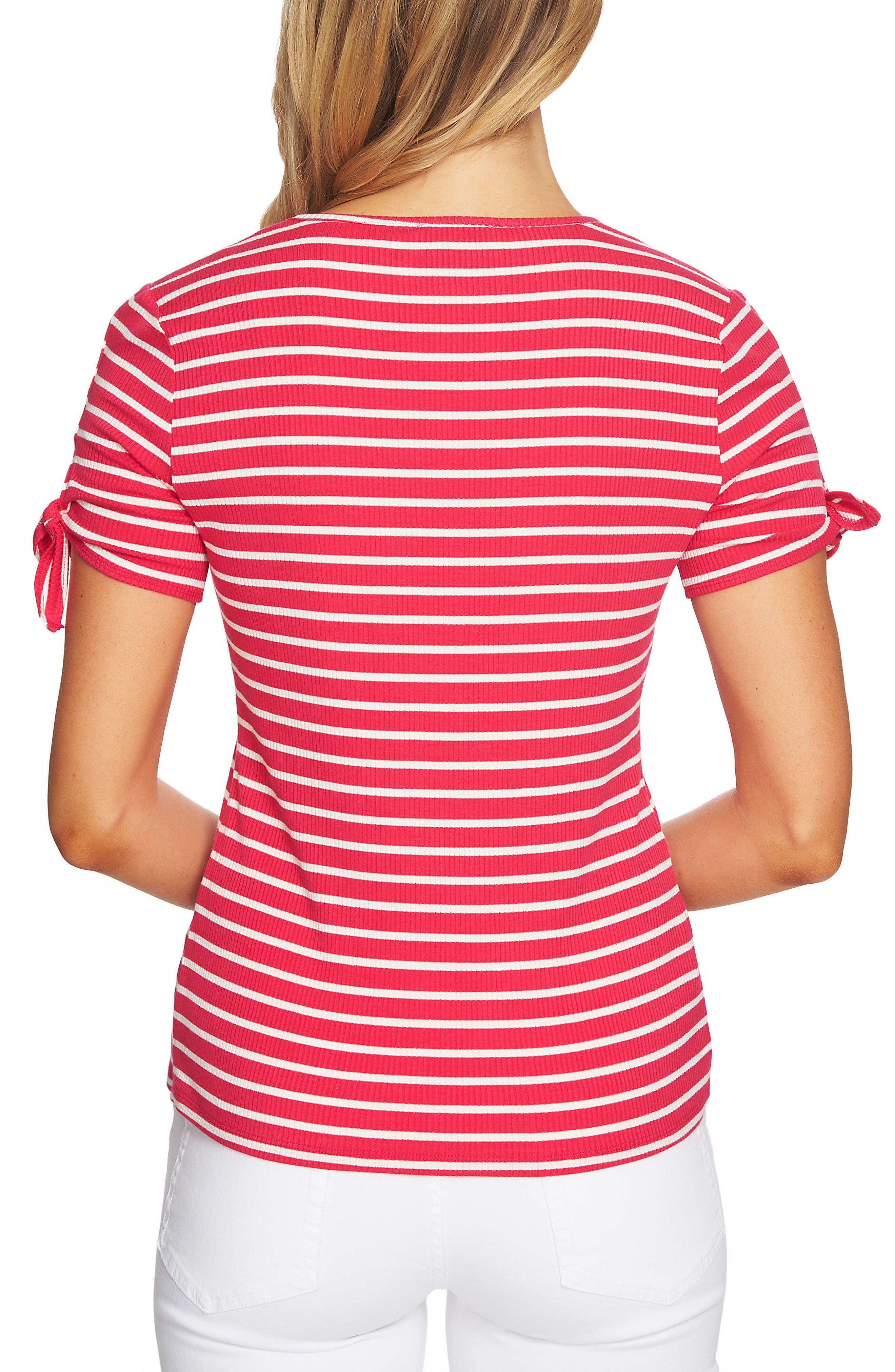 Stripe Rib Knit Top,                             Alternate thumbnail 2, color,                             Viva Pink