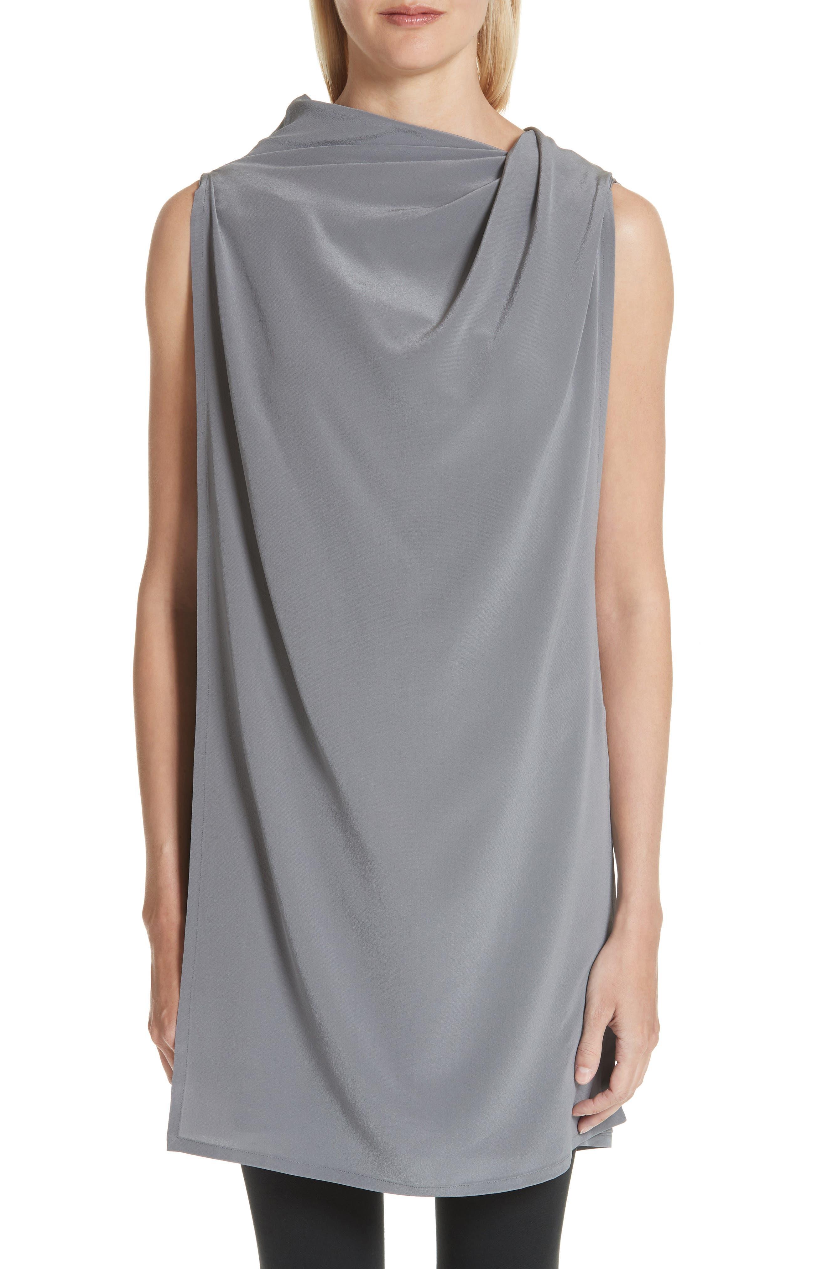 Draped Silk Tank Top,                             Main thumbnail 1, color,                             Grey