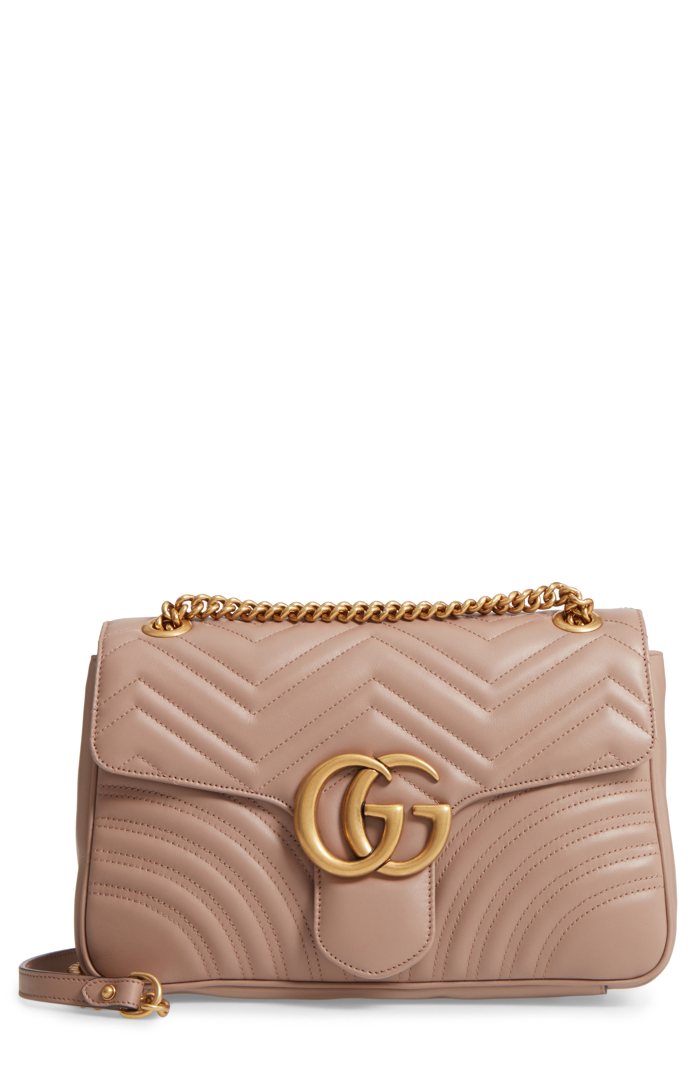 Medium GG Marmont 2.0 Matelassé Leather Shoulder Bag,                             Main thumbnail 1, color,                             Porcelain Rose