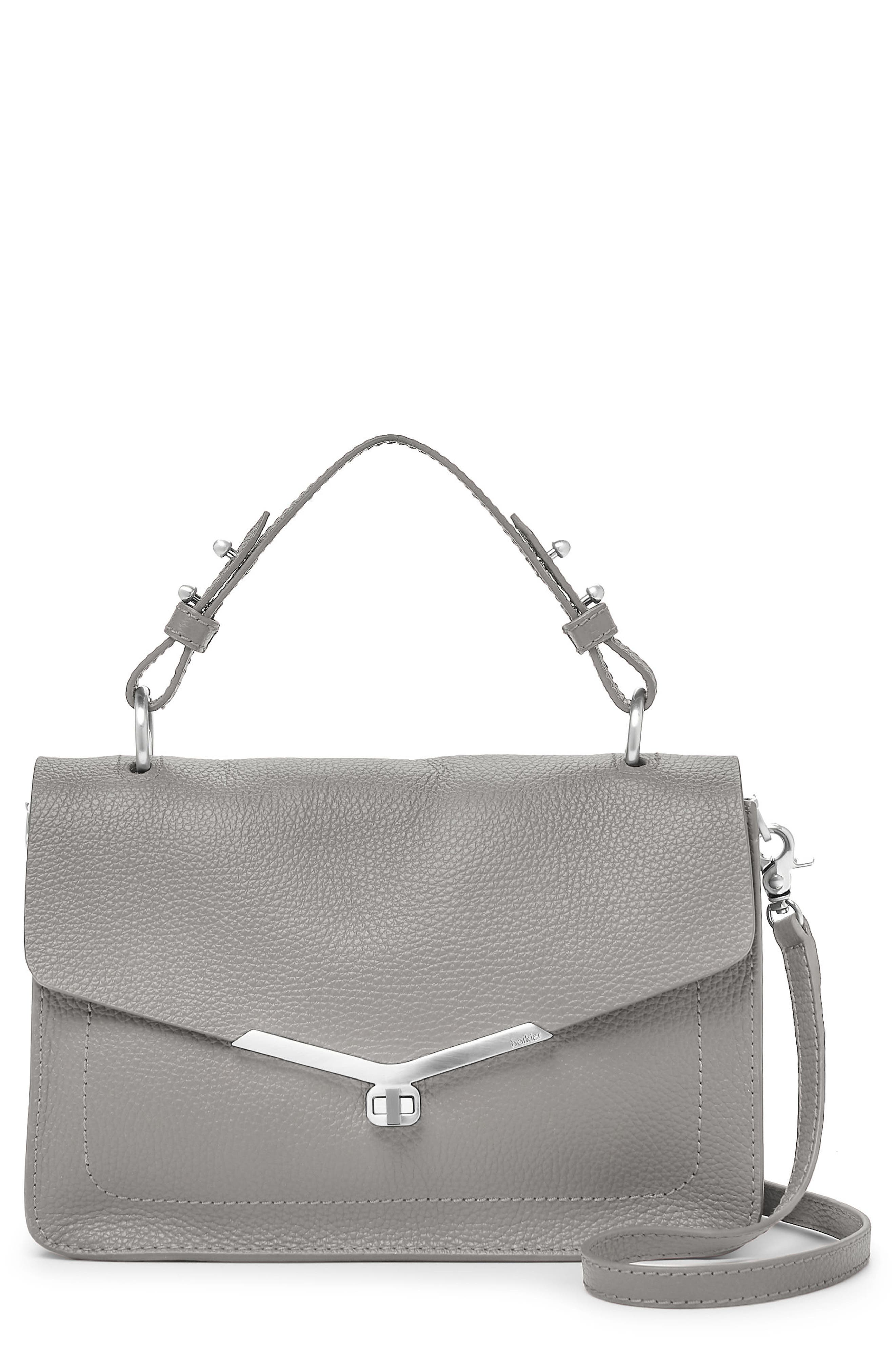 Vivi Calfskin Leather Satchel,                         Main,                         color, Grey