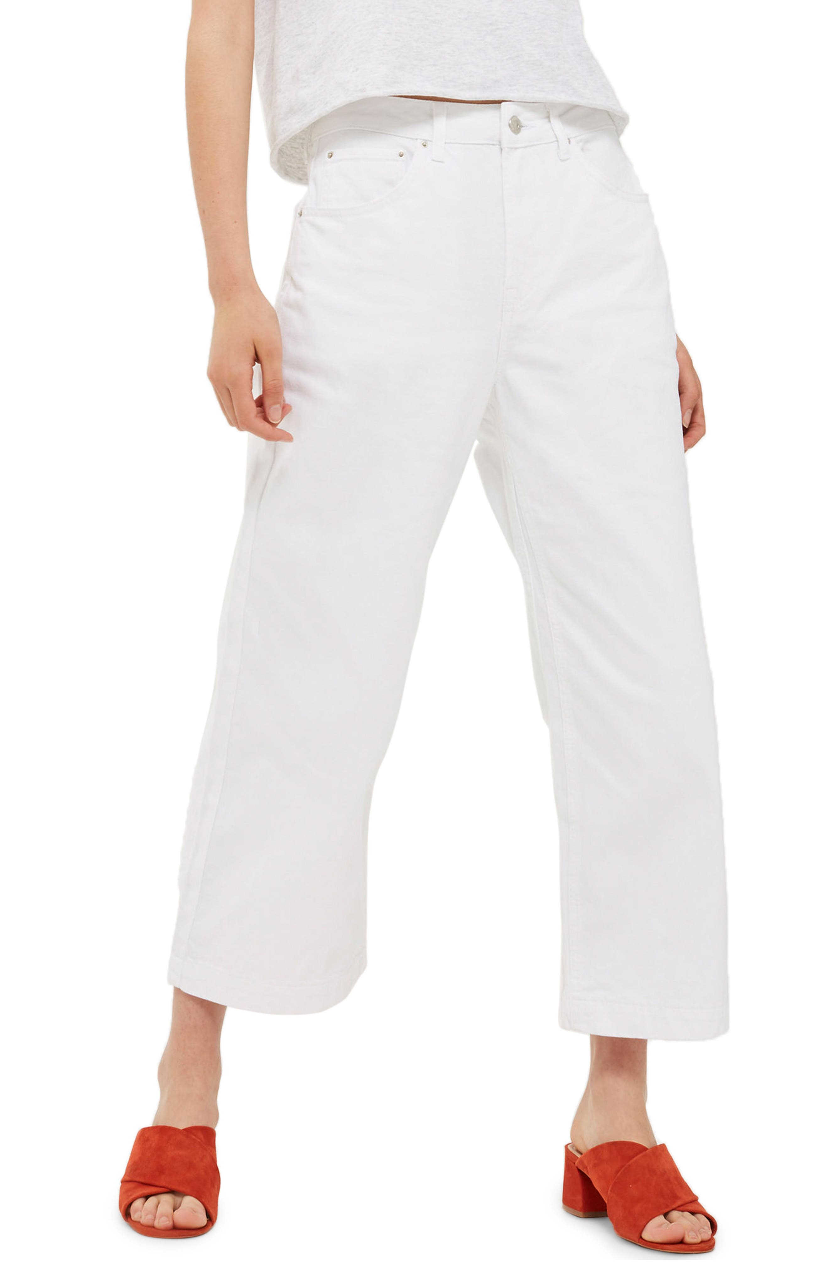 Main Image - Topshop Cropped Wide Leg Jeans