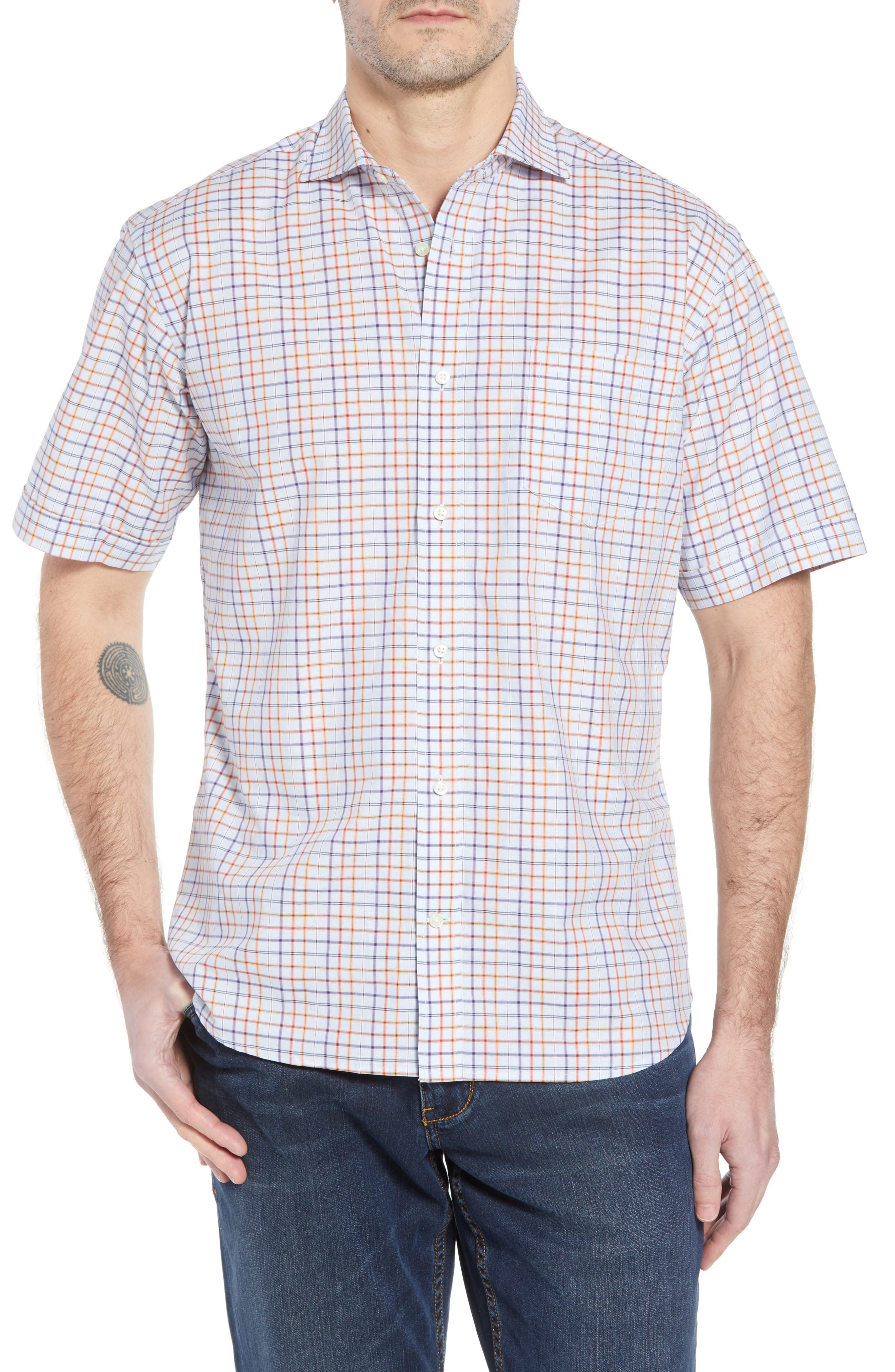 Thomas Dean Regular Fit Windowpane Sport Shirt