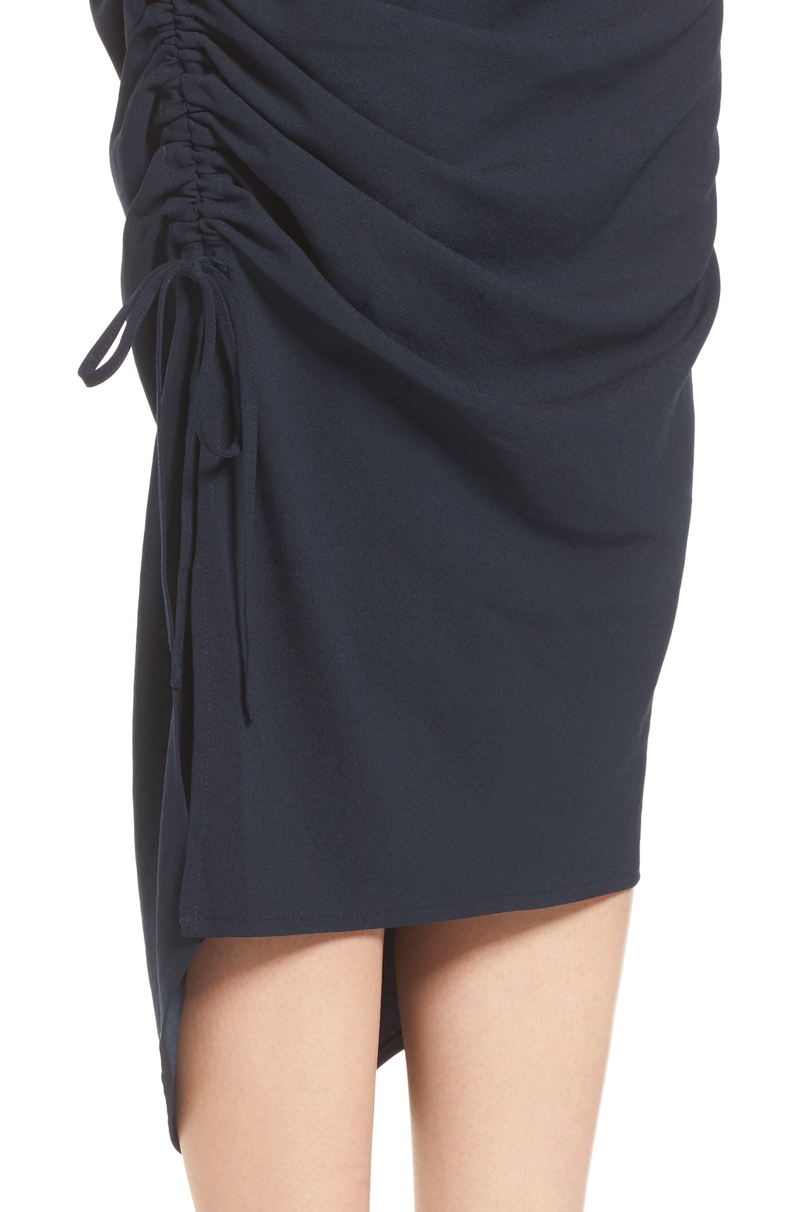 Side Shirred Skirt,                             Alternate thumbnail 4, color,                             Navy Sapphire