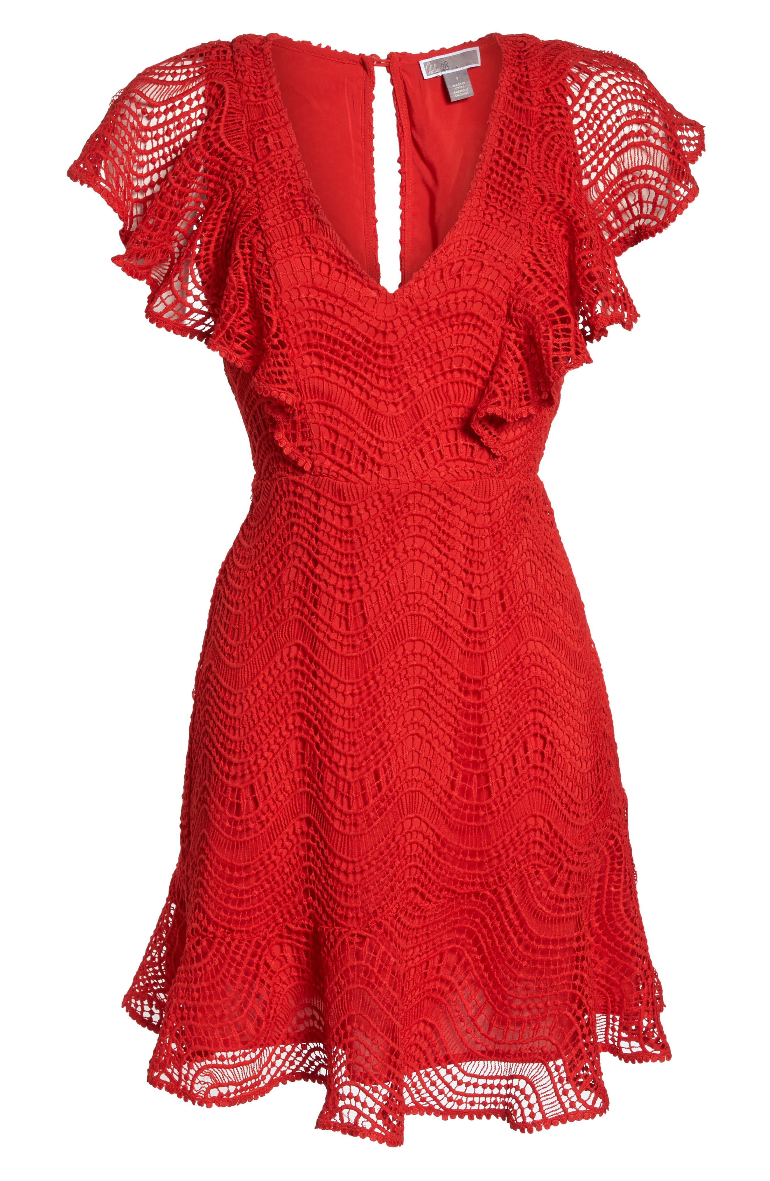 Ruffle Sleeve Lace Fit & Flare Dress,                             Alternate thumbnail 7, color,                             Red Blaze