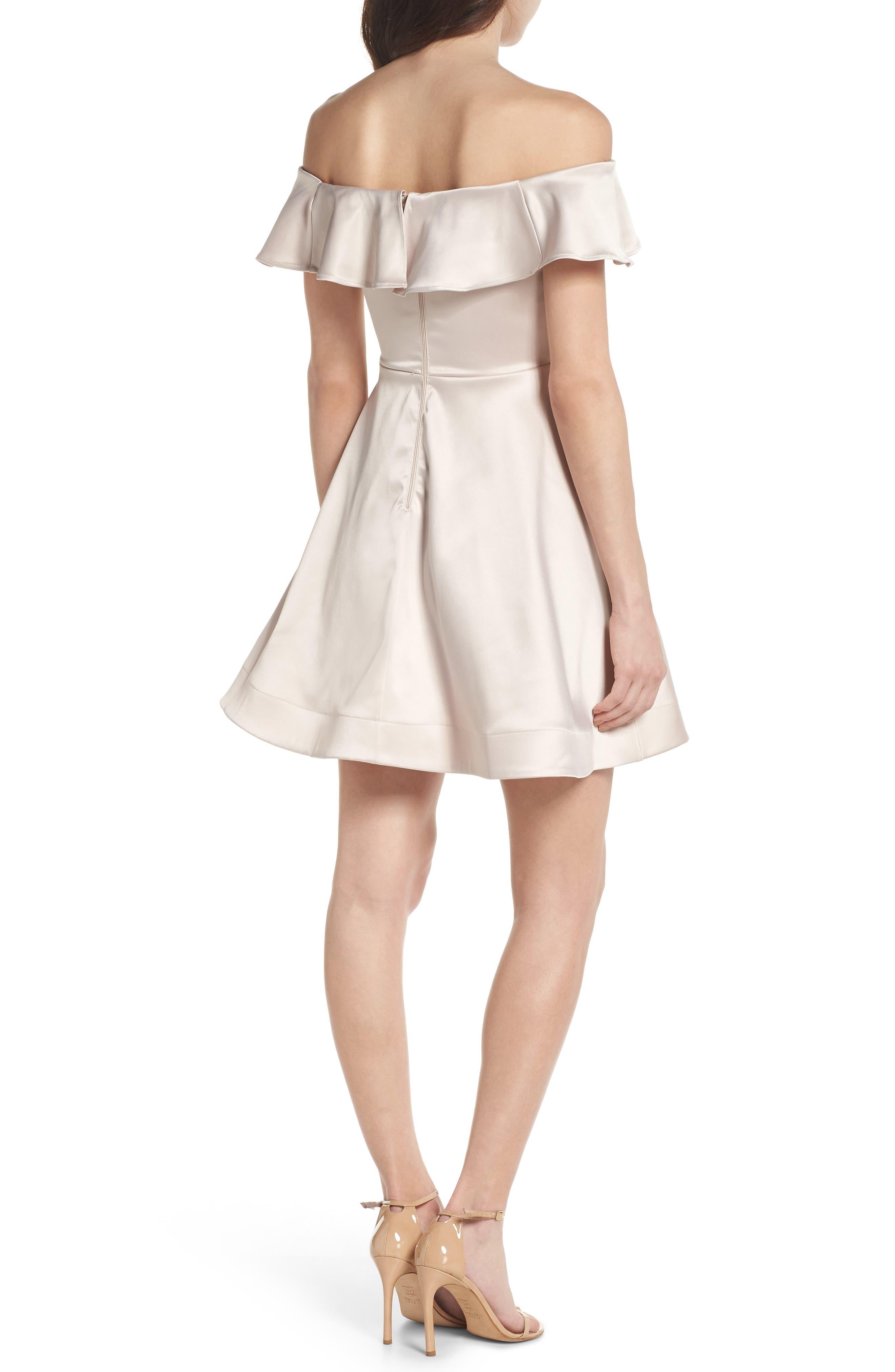 Off the Shoulder Satin Fit & Flare Dress,                             Alternate thumbnail 2, color,                             Blush
