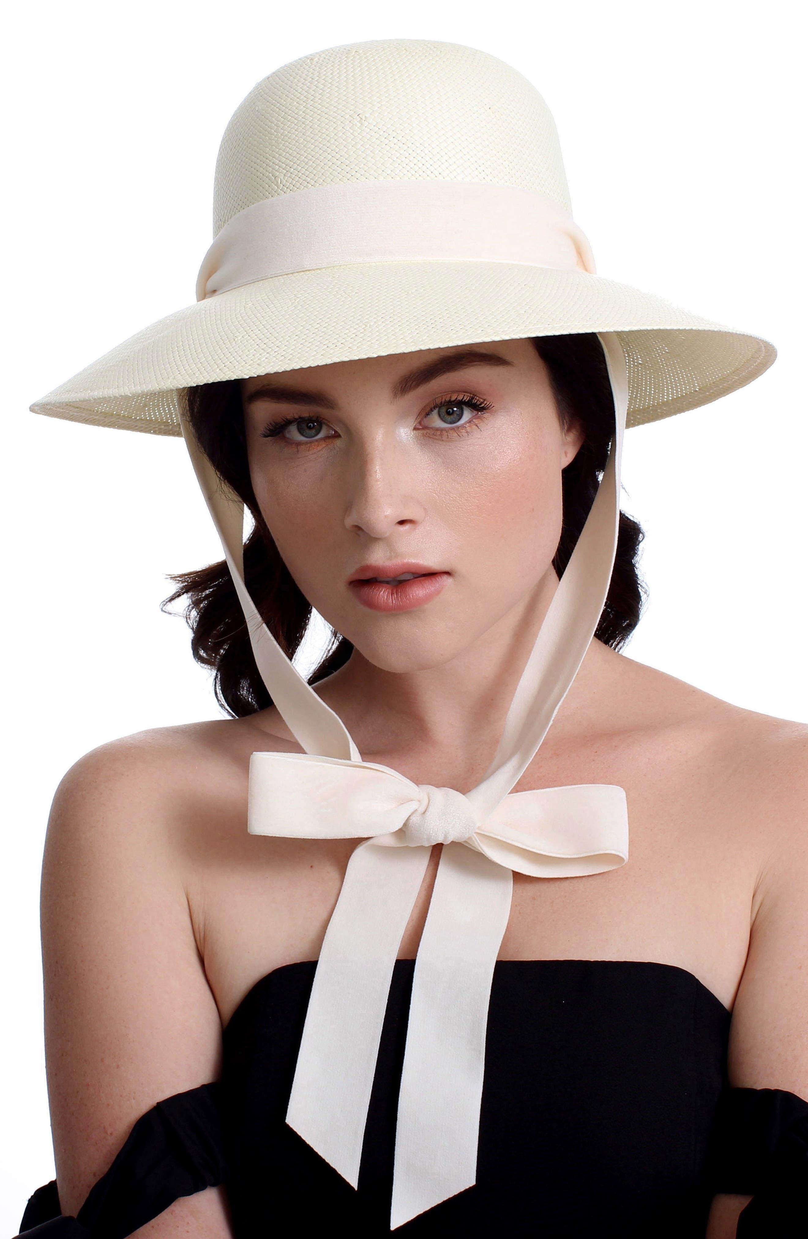 The Empress Velvet Ribbon Hat,                             Alternate thumbnail 3, color,                             Ivory