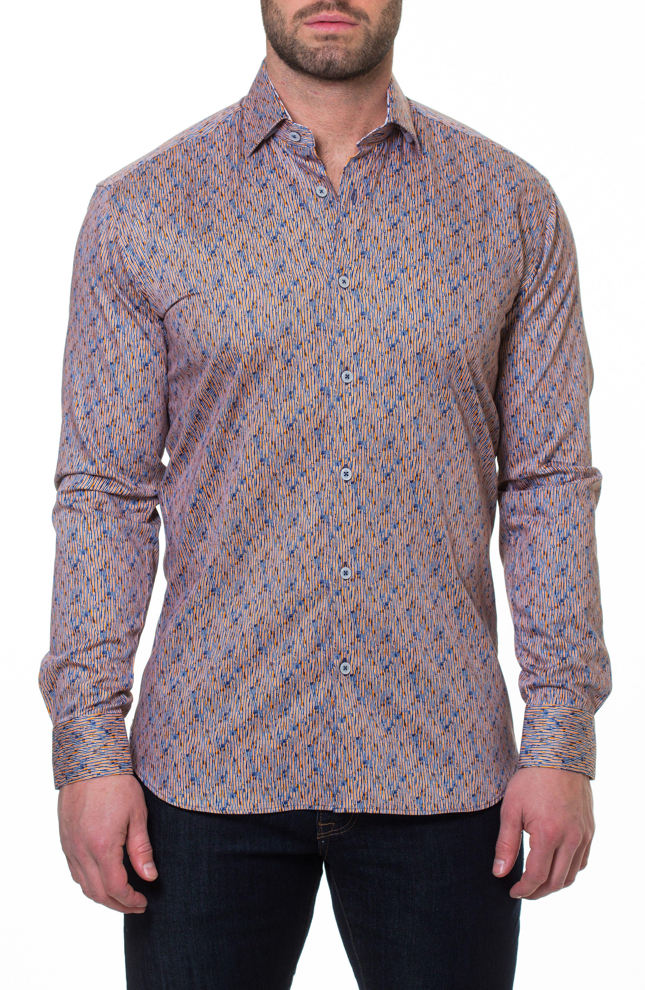 Luxor Strokes Slim Fit Sport Shirt,                             Main thumbnail 1, color,                             Orange