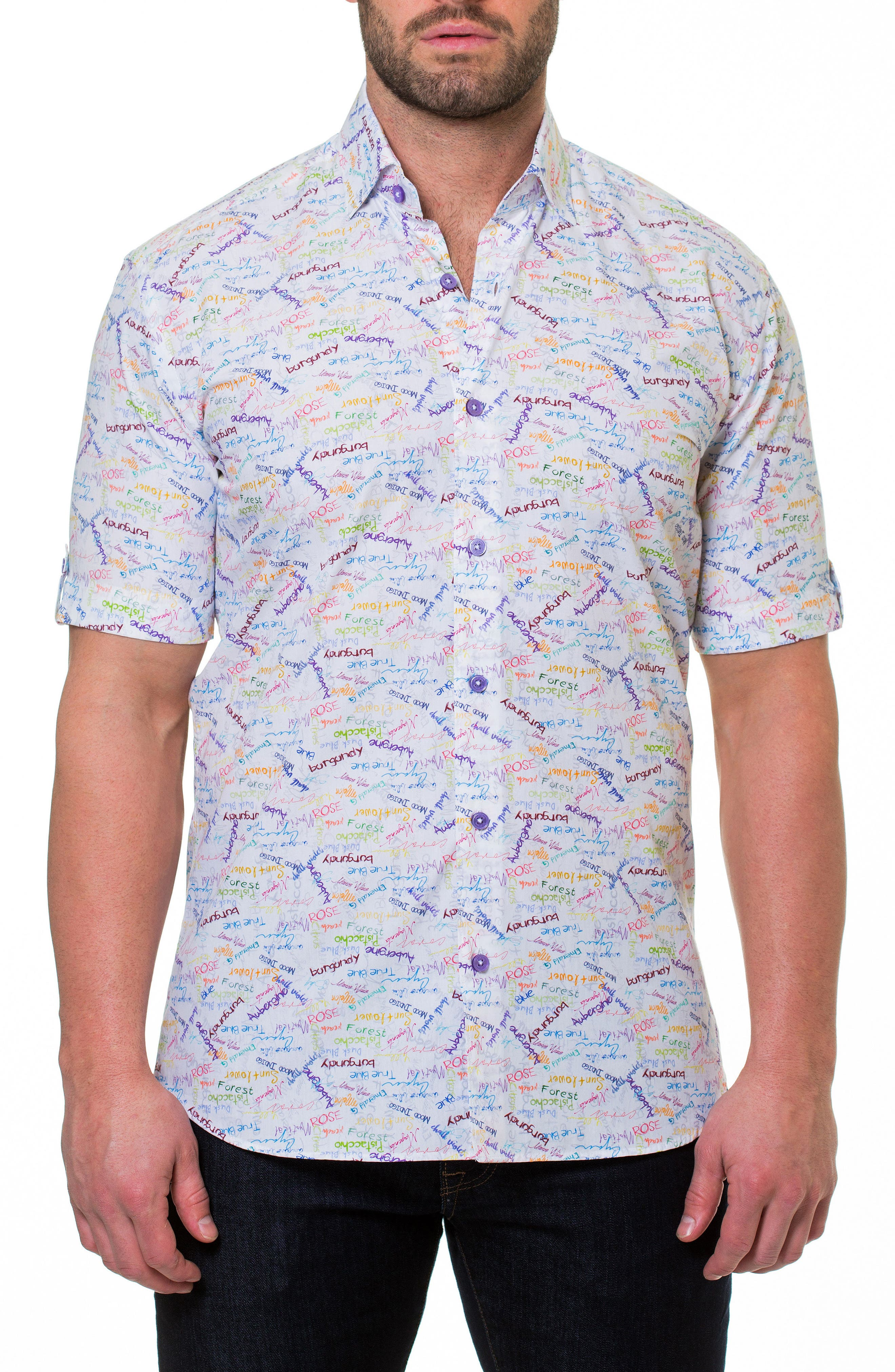 Fresh Colors Print Sport Shirt,                         Main,                         color, White