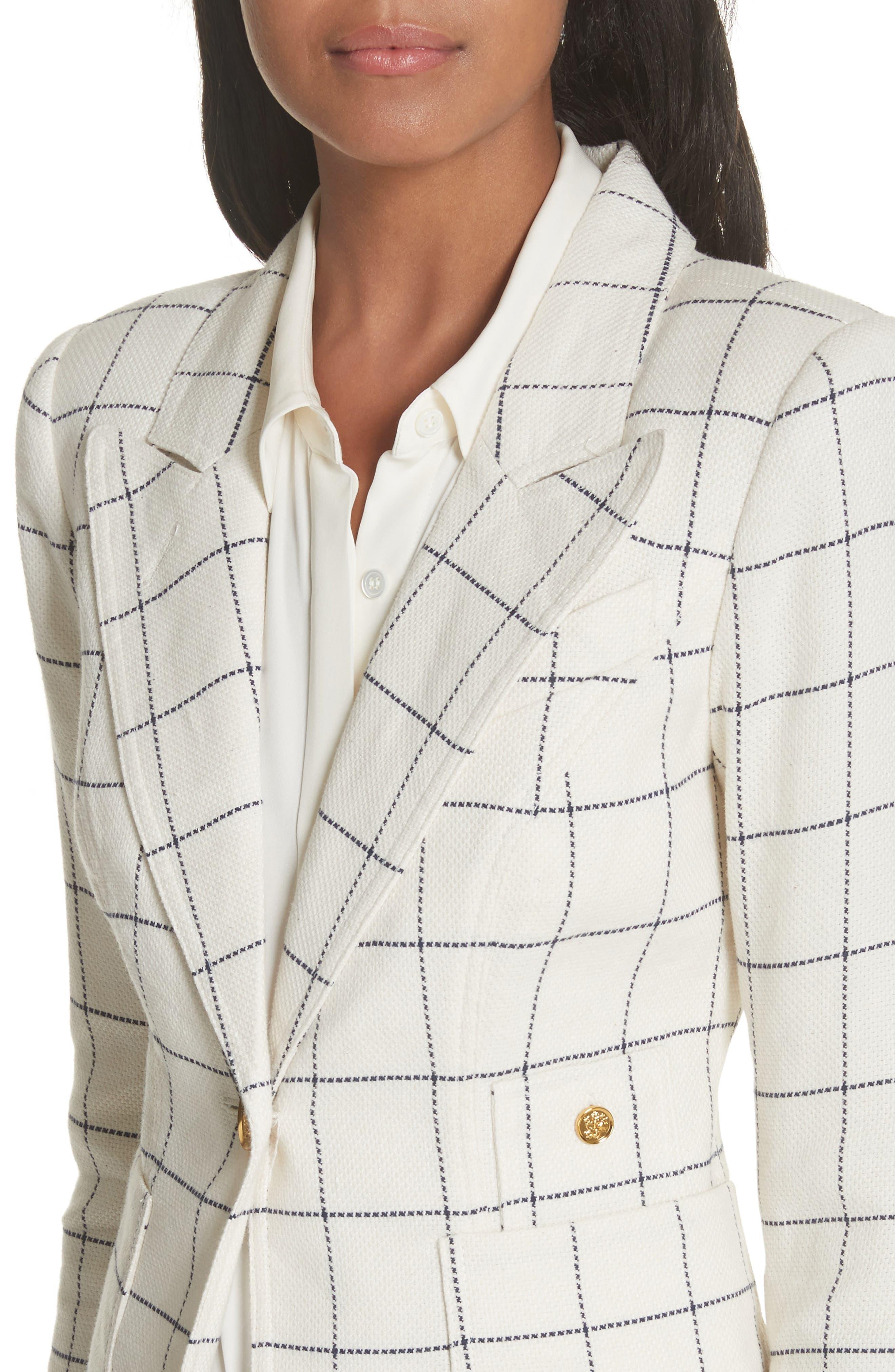 Duchess Elbow Patch Linen Blend Blazer,                             Alternate thumbnail 4, color,                             Gatsby Windowpane