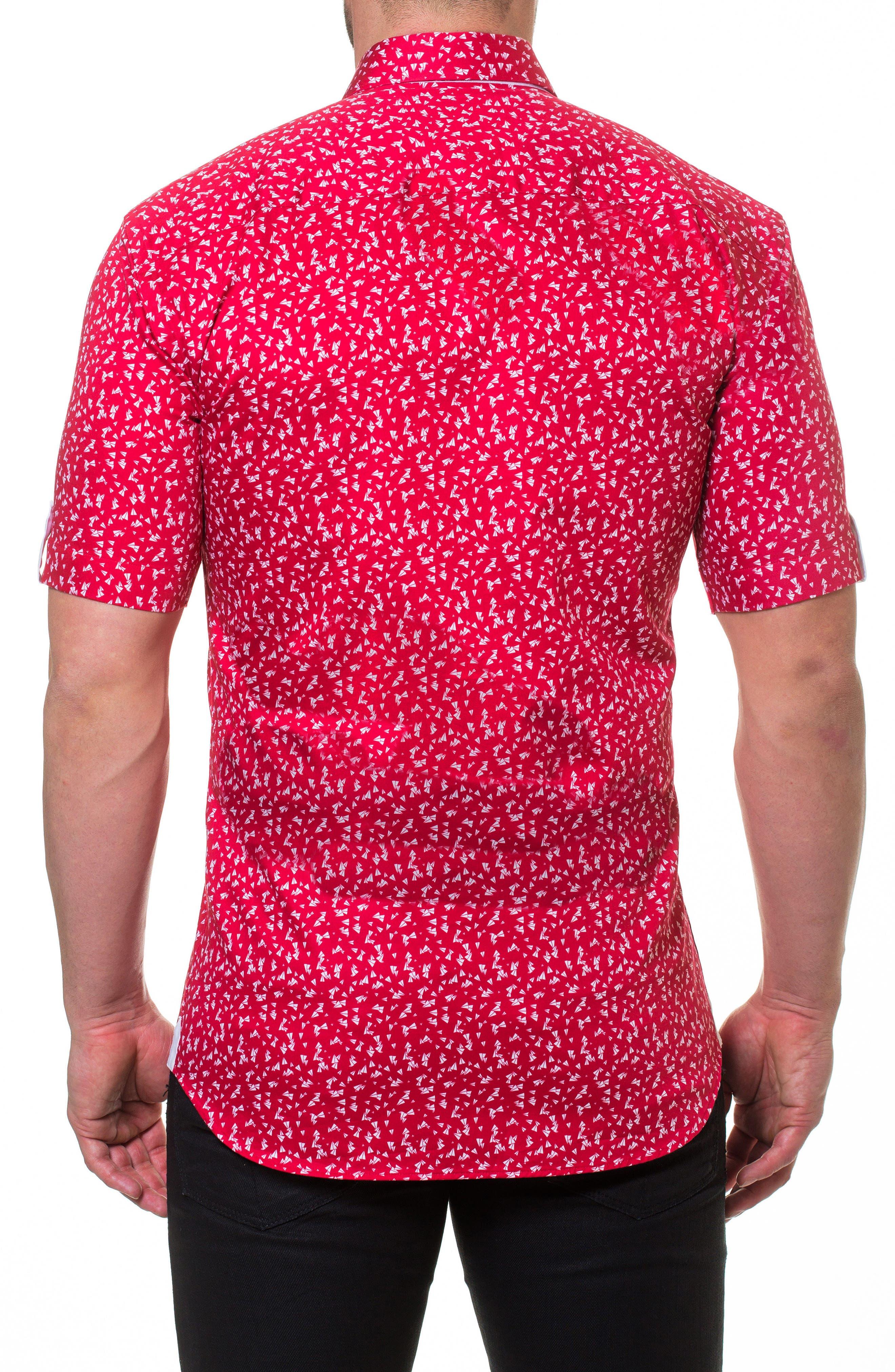 Fresh Paper Plane Slim Fit Sport Shirt,                             Alternate thumbnail 2, color,                             Red