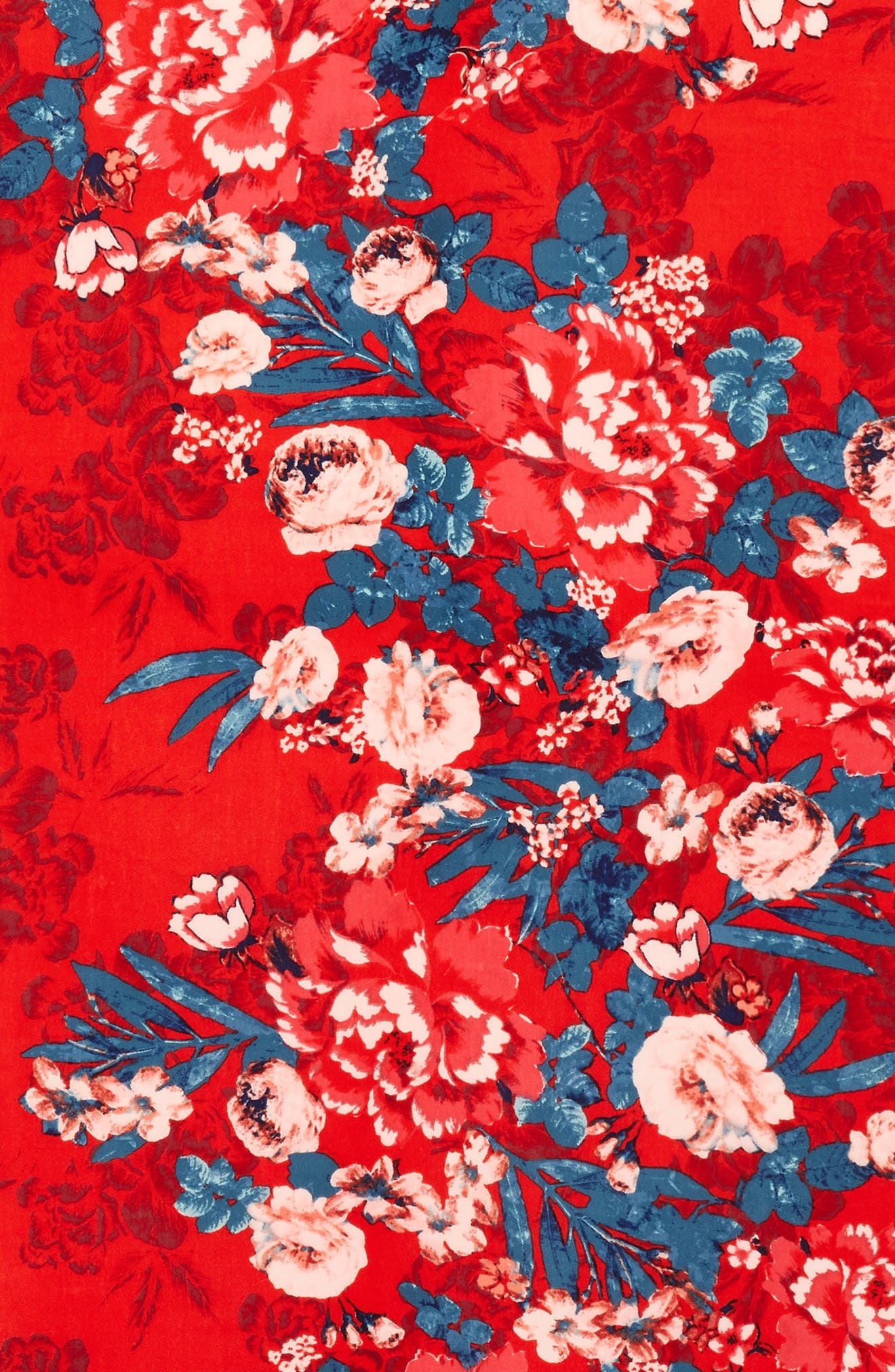 Tissue Print Wool & Cashmere Wrap Scarf,                             Alternate thumbnail 4, color,                             Red Artful Blooms
