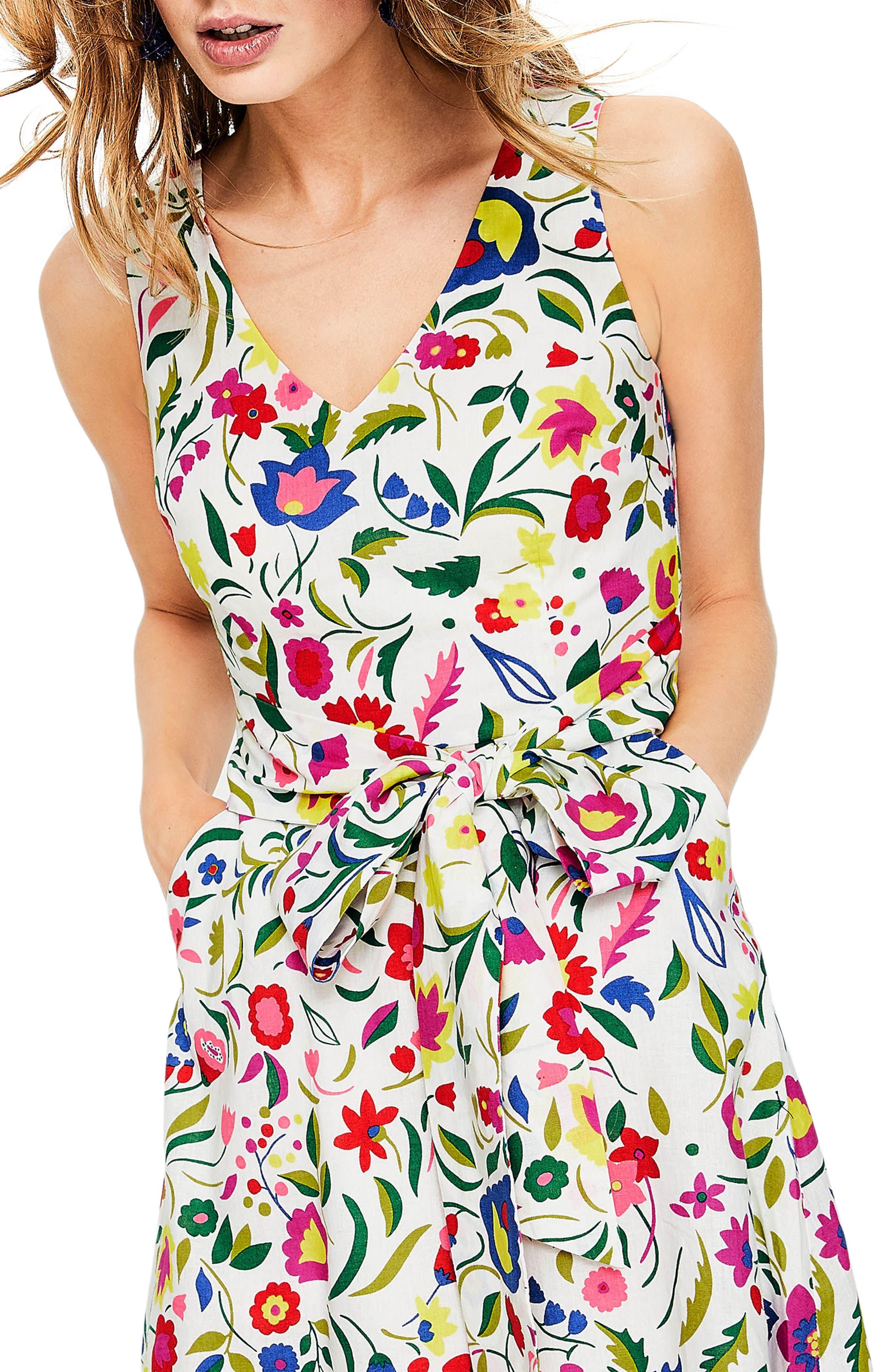 Jade Fit & Flare Linen Cotton Dress,                             Alternate thumbnail 5, color,                             Ivory Folk Pop