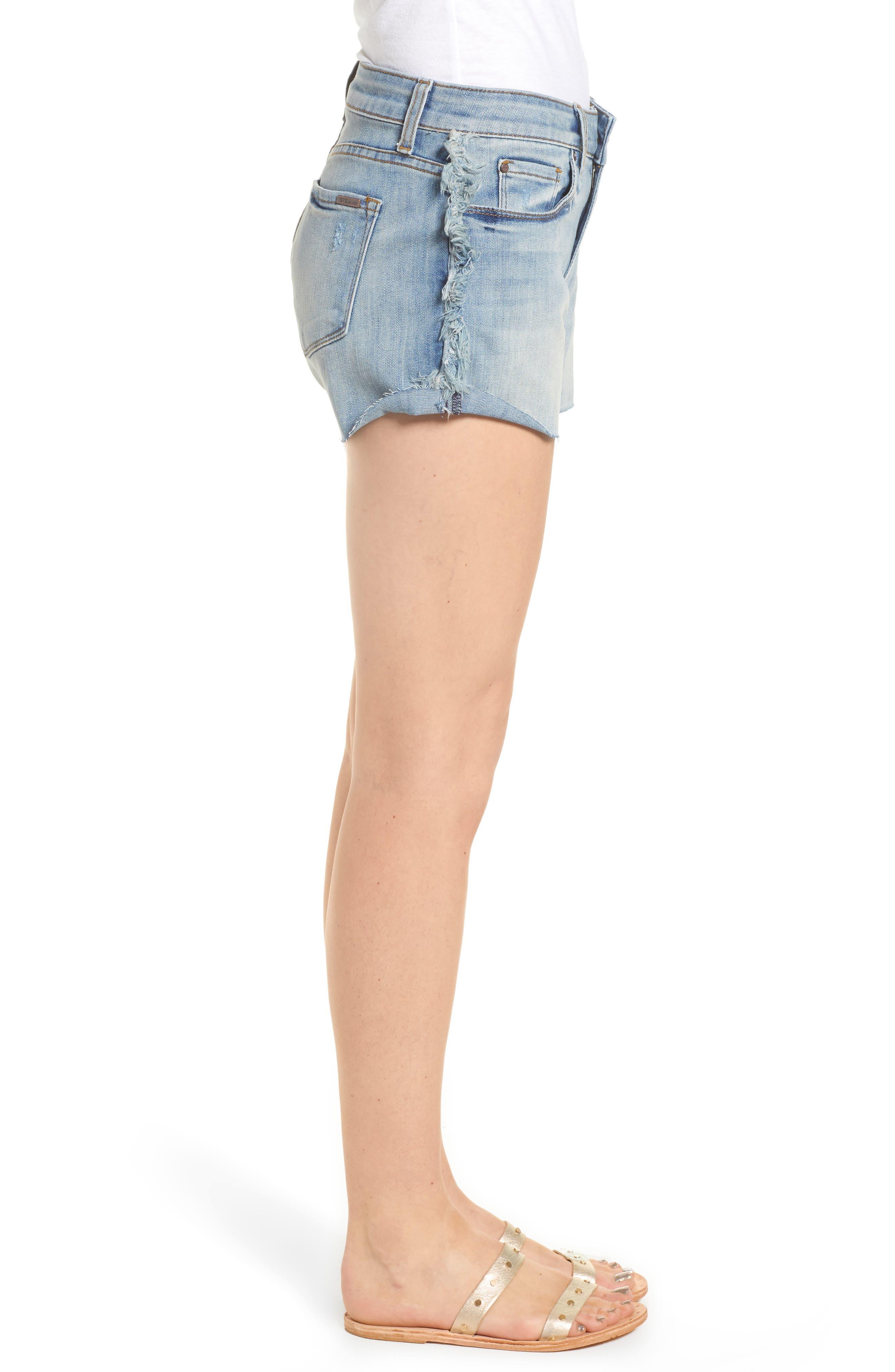 Fray Outseam Denim Shorts,                             Alternate thumbnail 3, color,                             Medium Wash