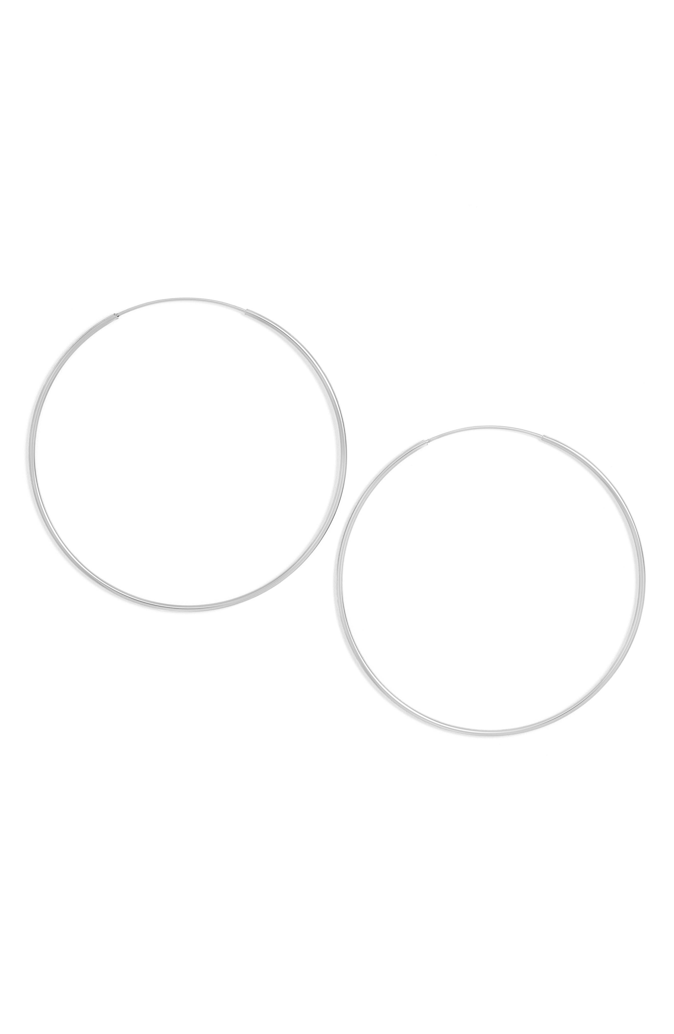 Starlet Hoop Earrings,                             Main thumbnail 1, color,                             Silver