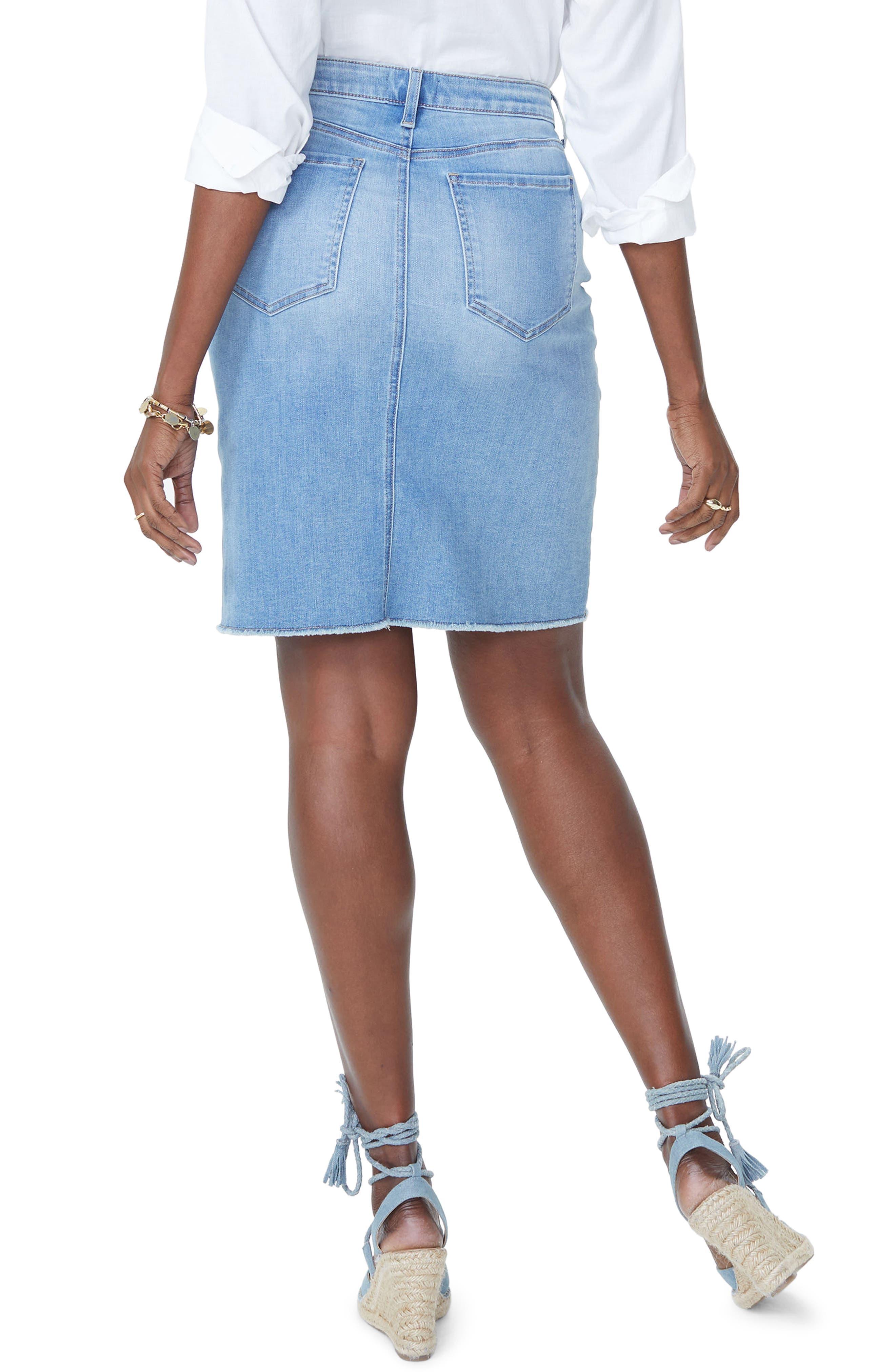 Frayed Hem Denim Skirt,                             Alternate thumbnail 2, color,                             Dream State