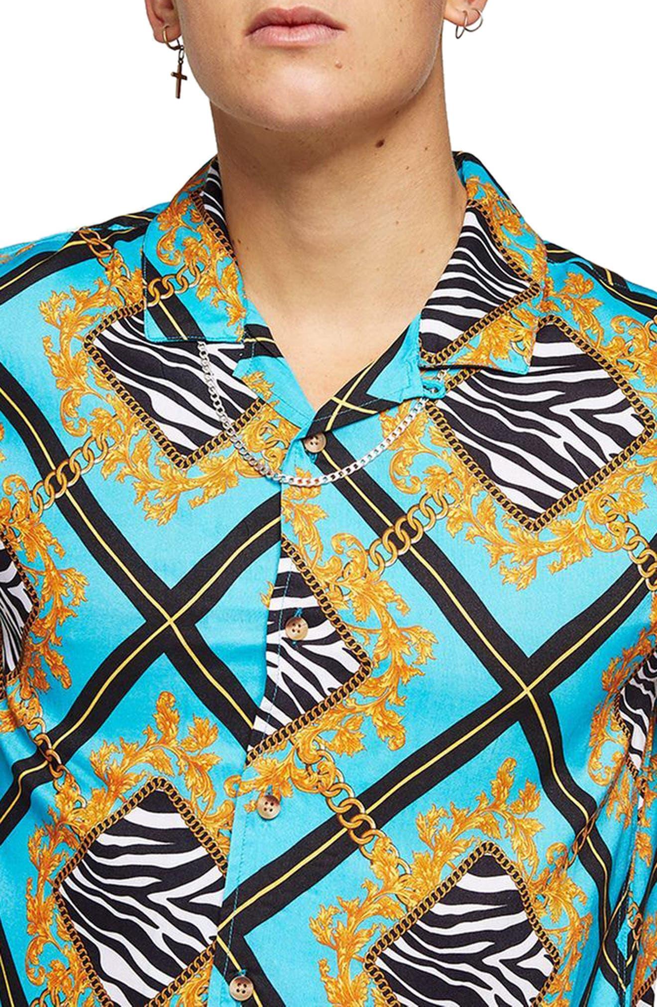 Baroque Zebra Print Shirt,                             Alternate thumbnail 2, color,                             Blue