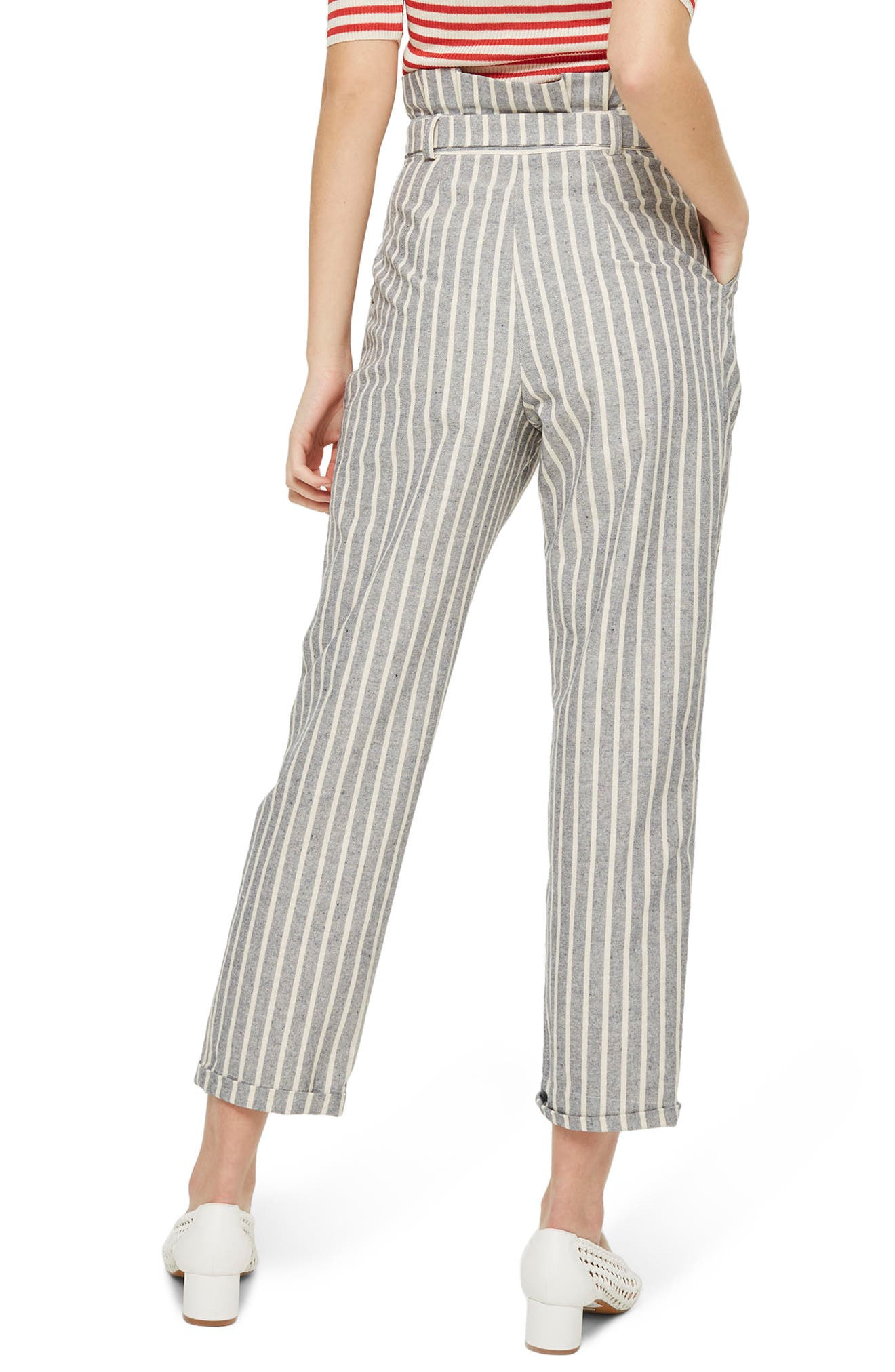 Alternate Image 2  - Topshop Belted Stripe Roll-Cuff Trousers