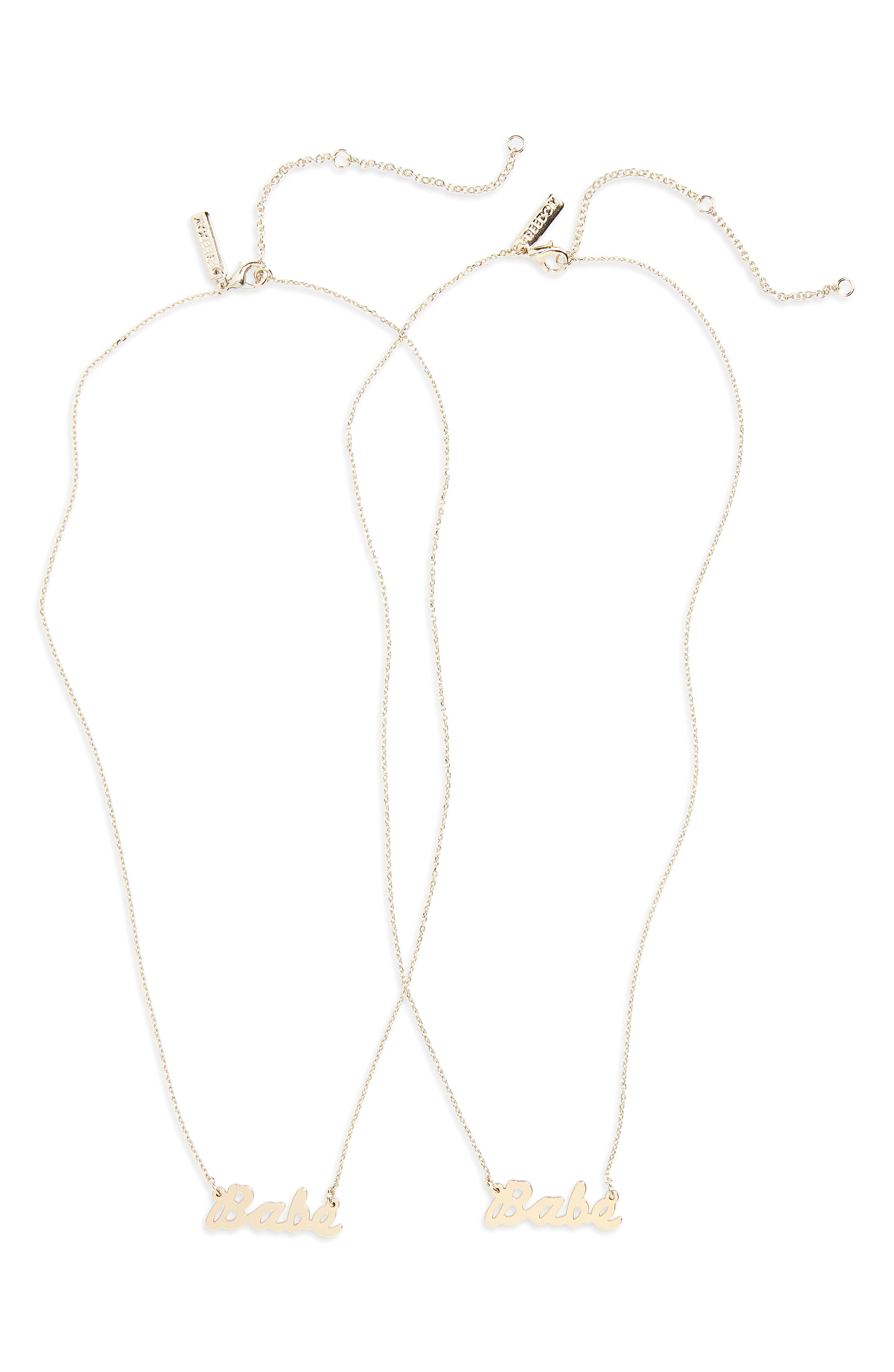 Gal Babe Ditsy Necklace,                         Main,                         color, Gold