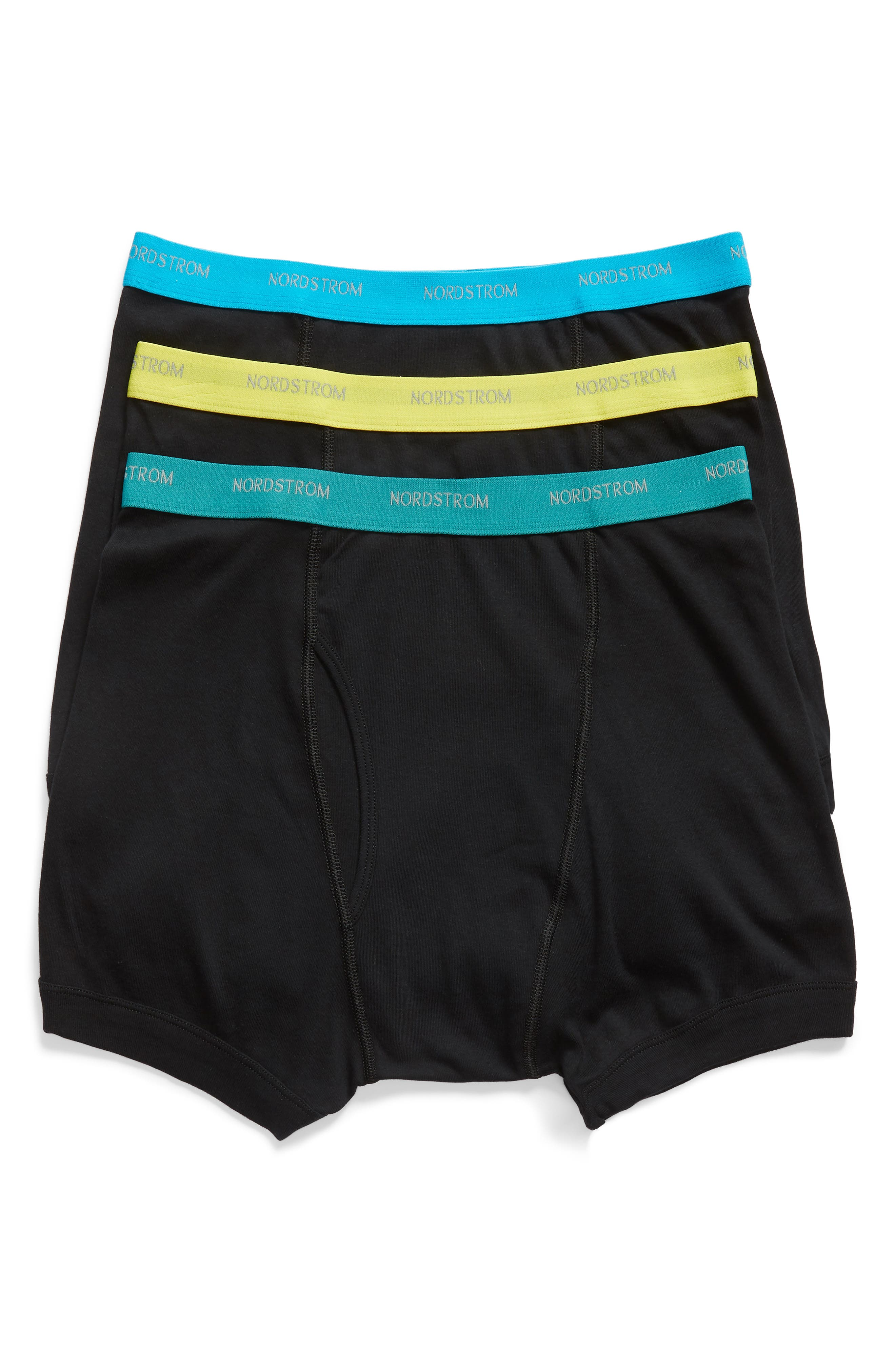 3-Pack Supima<sup>®</sup> Cotton Boxer Briefs,                         Main,                         color, Black- Teal/ Green/ Lime